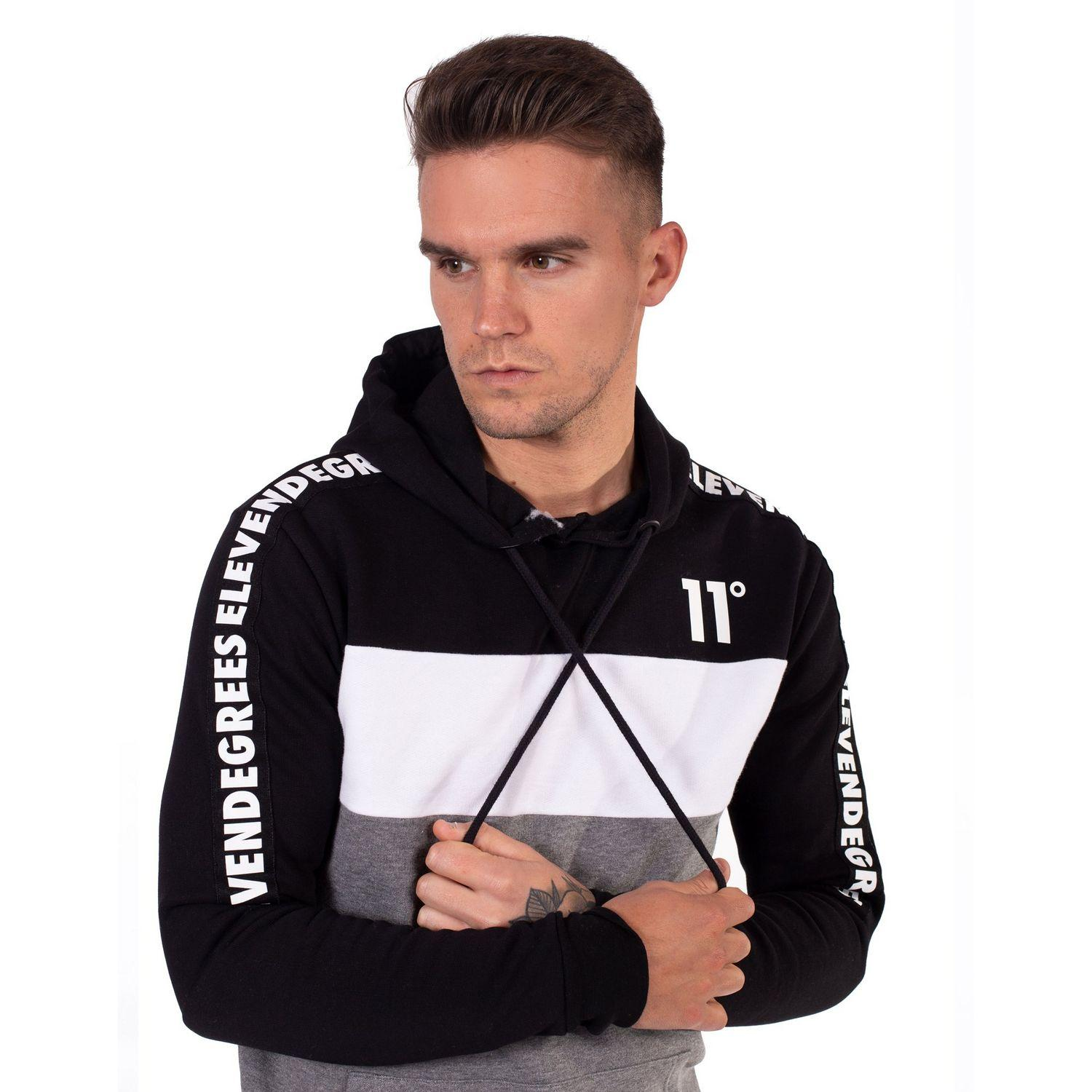 Black 11 Degrees Core Mens PullOver oversized style Hoodie
