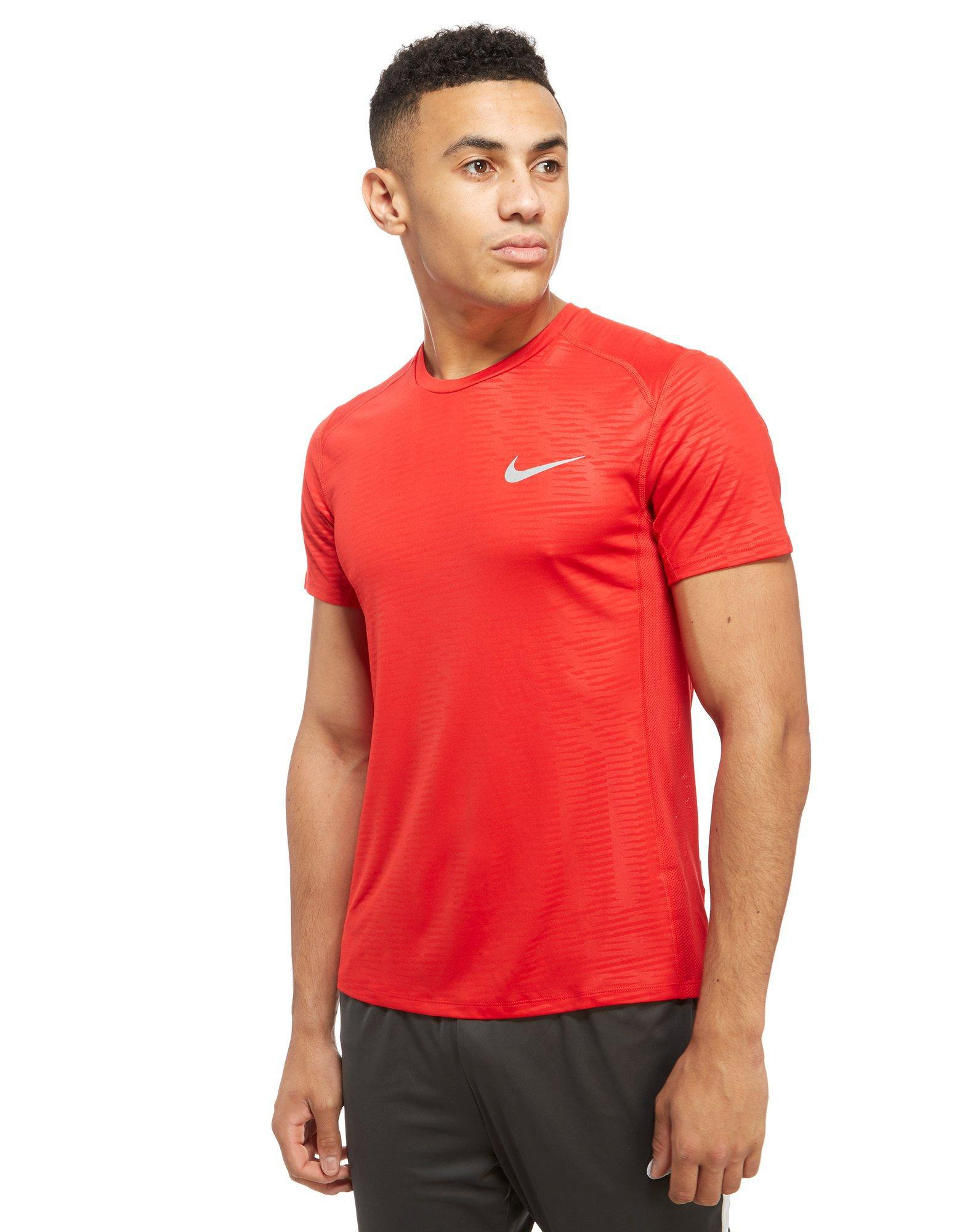 Lyst nike dry miler performance t shirt in red for men for What is a performance t shirt