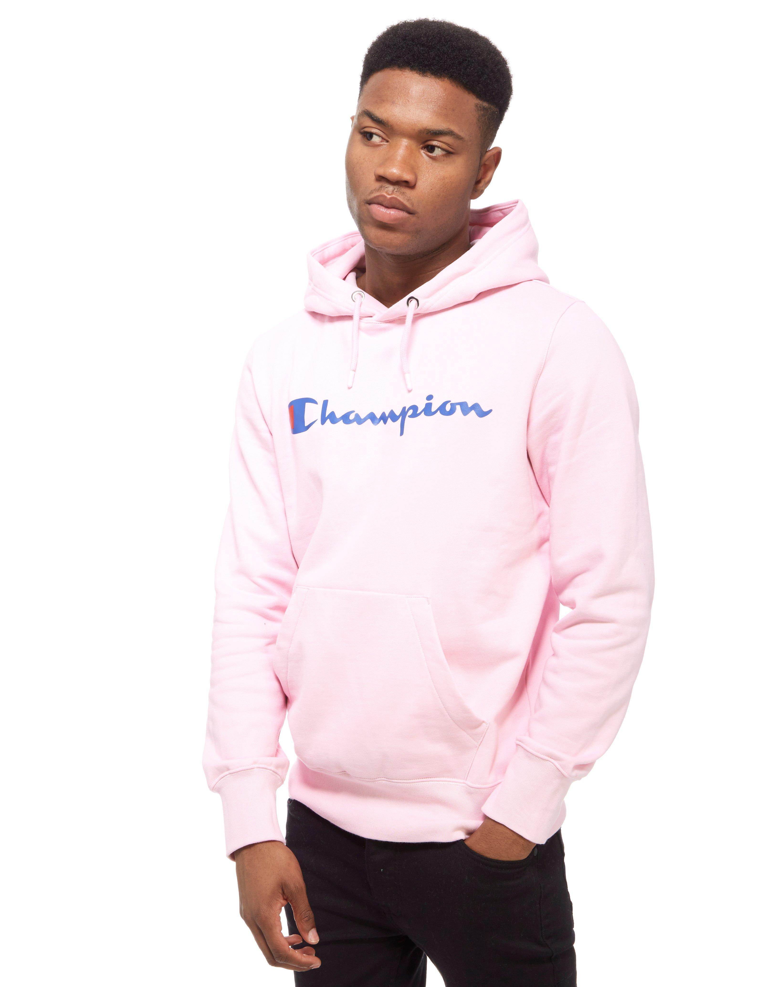 Champion Core Script Overhead Hoody In Pink For Men Lyst