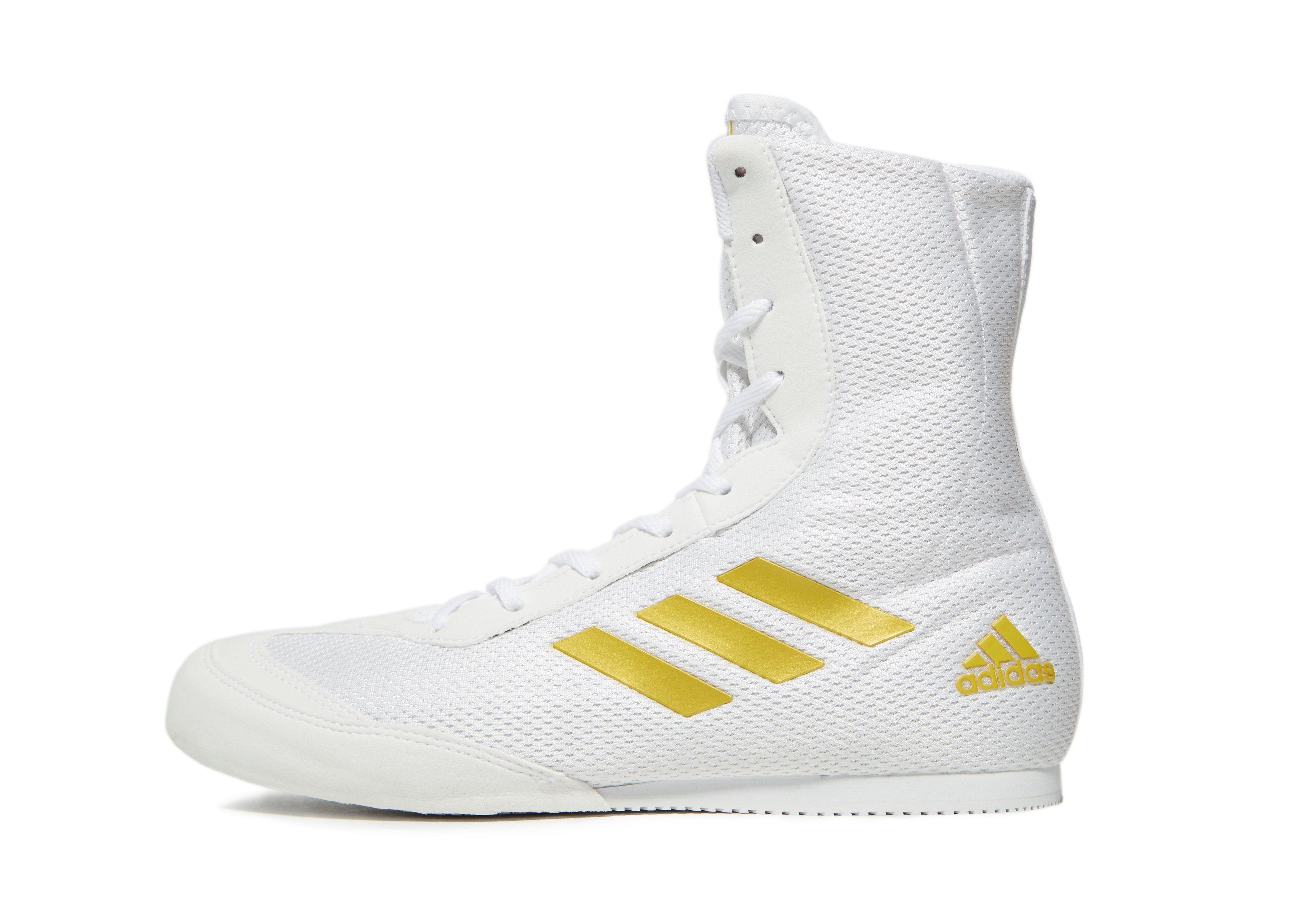 Box Hog Plus Boxing Shoes in White/Gold