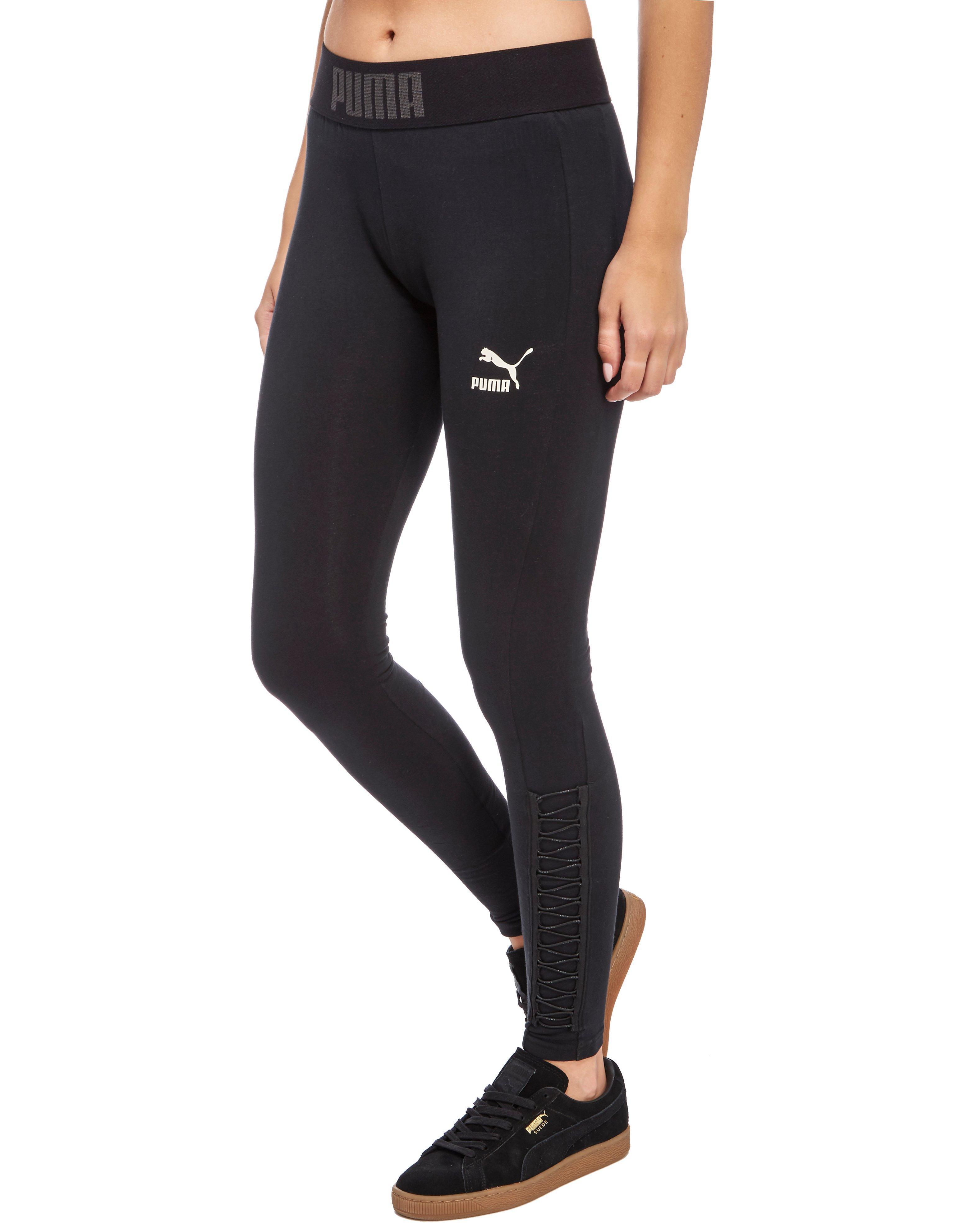 Puma Lace Up Leggings in Black | Lyst