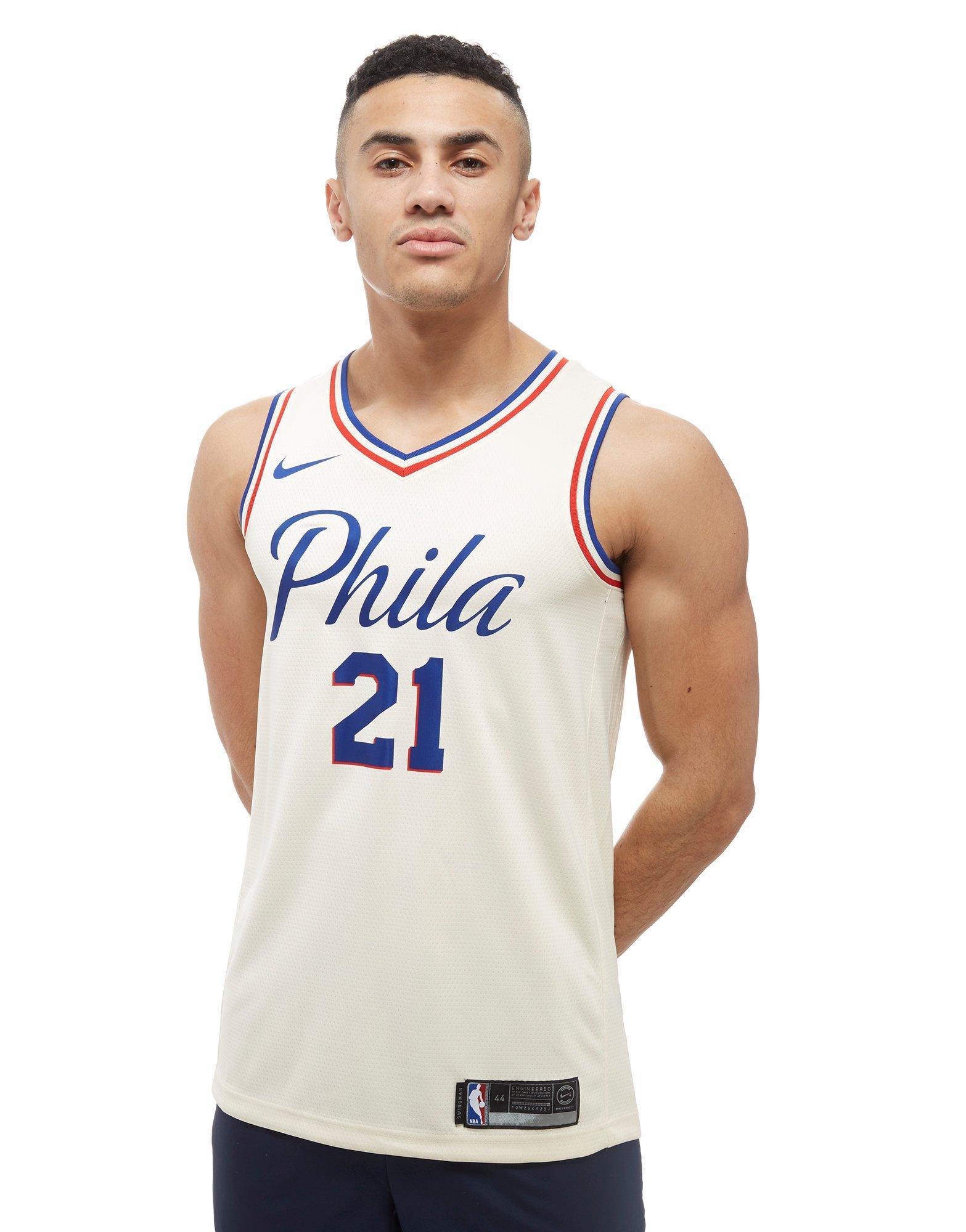 timeless design fdb2c 695fc Nike White Nba Embiid Philadelphia 76ers City Jersey for men