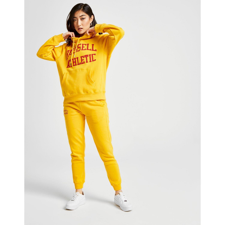 5e844491c Russell Athletic Arch Logo Boyfriend Hoodie in Yellow - Lyst