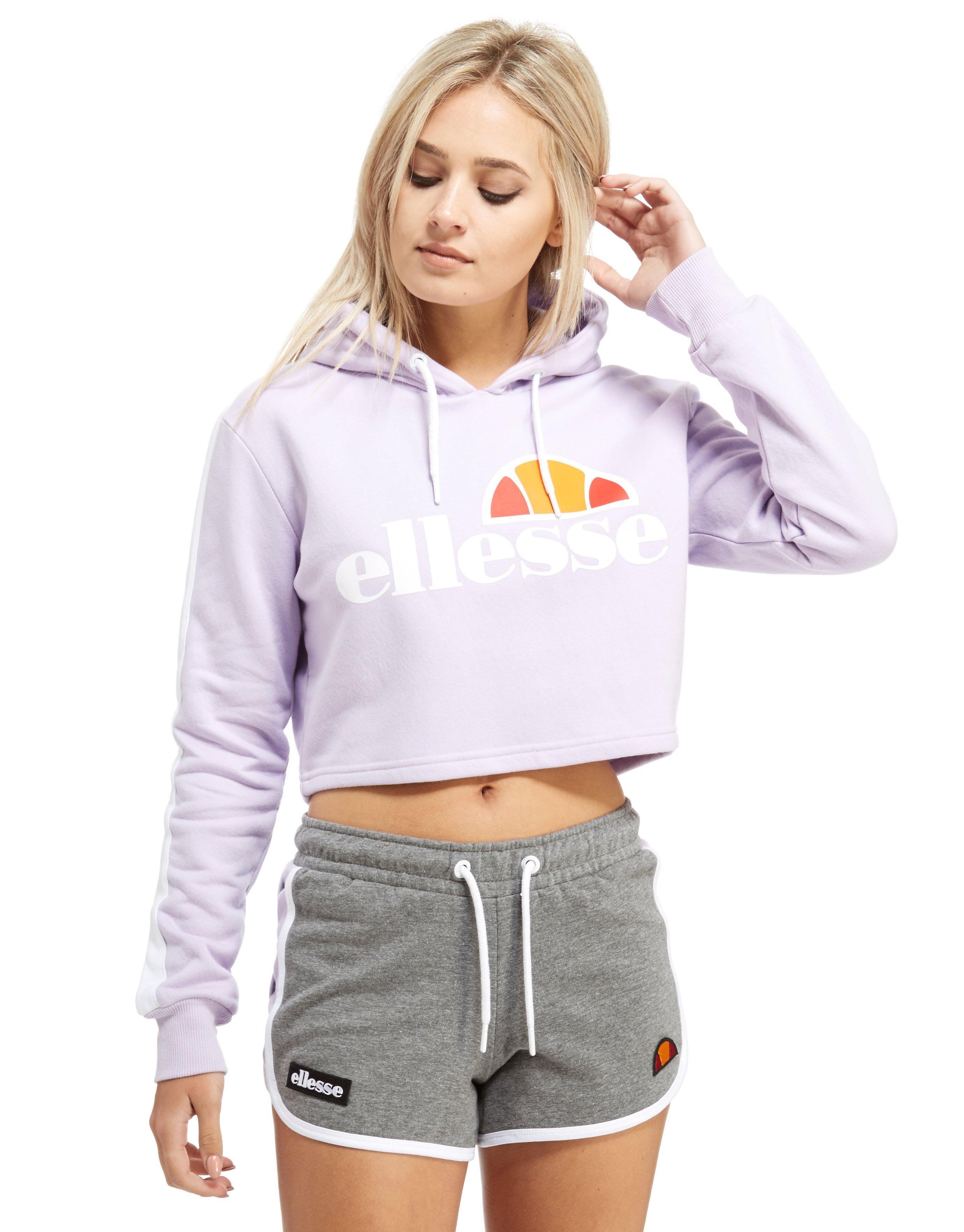 lyst ellesse crop panel hoodie in white. Black Bedroom Furniture Sets. Home Design Ideas