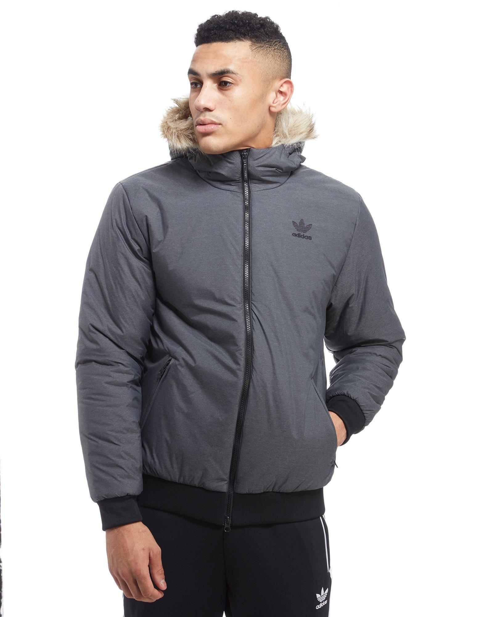 Lyst - Adidas Originals Trefoil Fur Parka Jacket in Gray ...