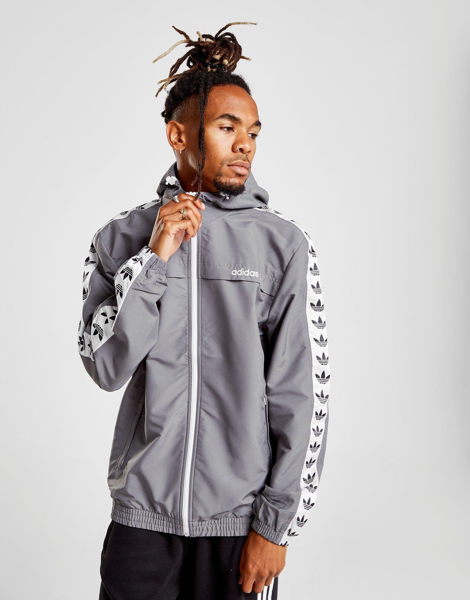 Adidas Originals Gray Tape Windbreaker for men