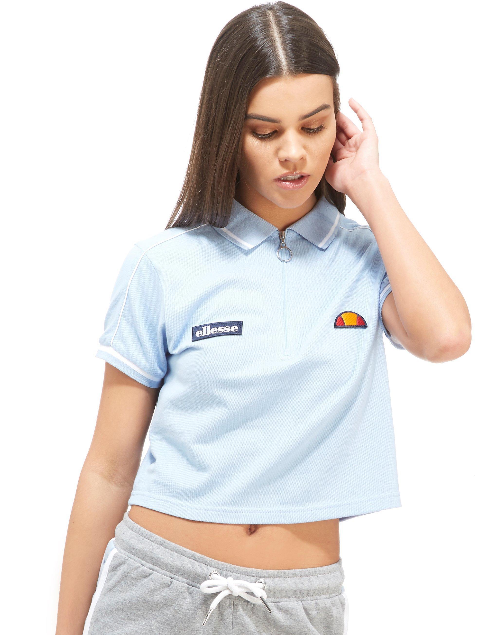 9fba0735c3 Ellesse Blue Crop Zip Polo Shirt