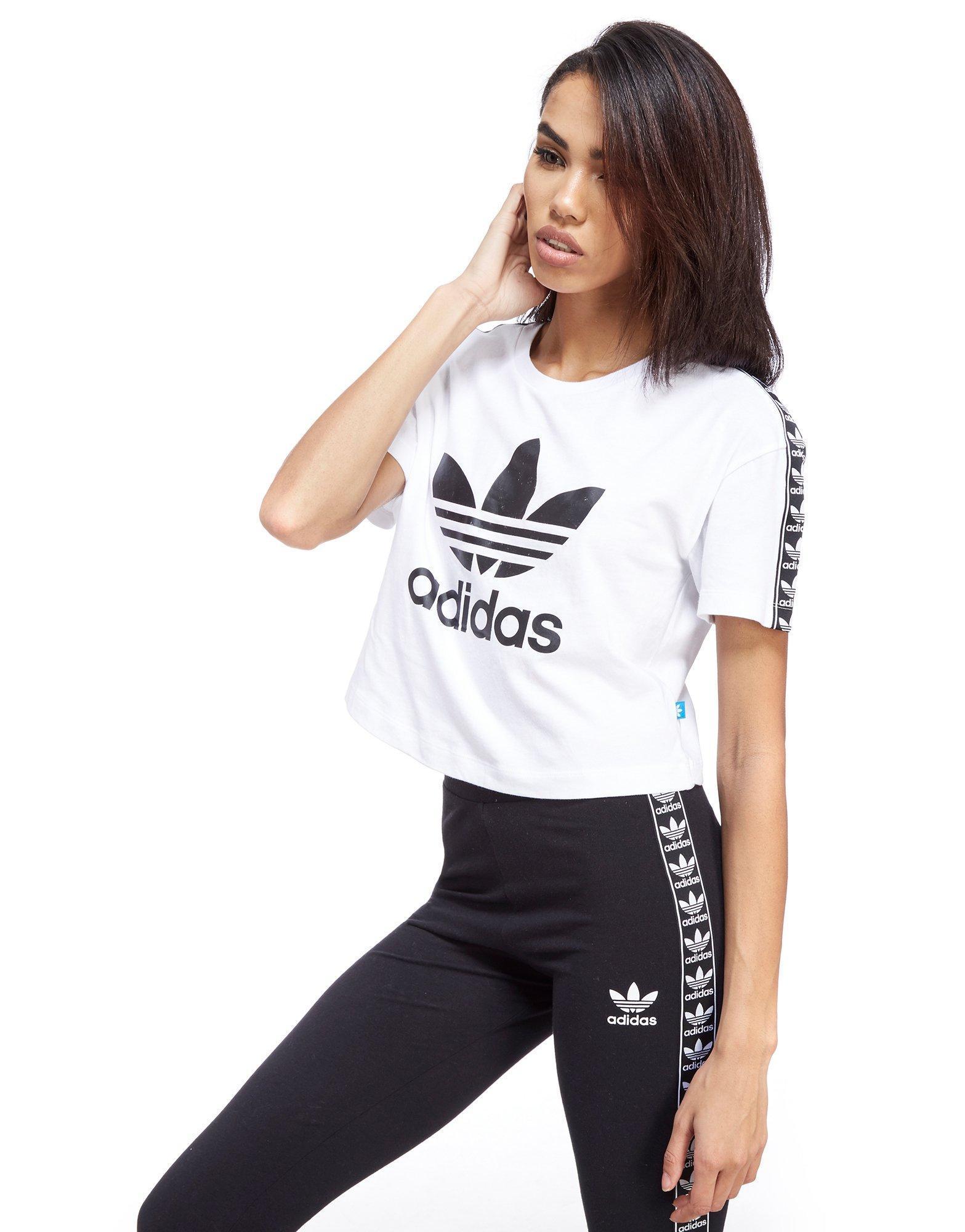White Shirt Crop T Adidas Tape Originals jLAR435
