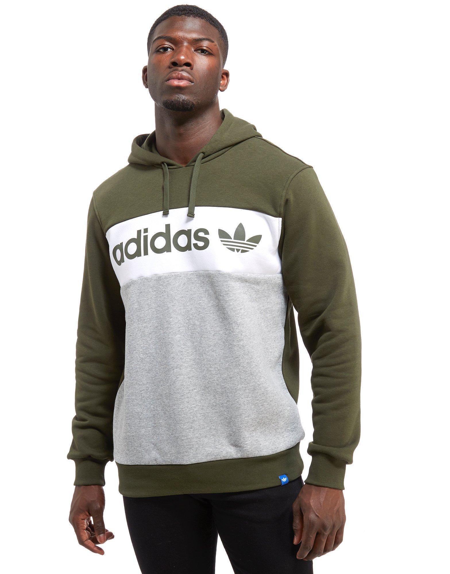 adidas Originals Cotton Linear Colour Block Hoodie in Green
