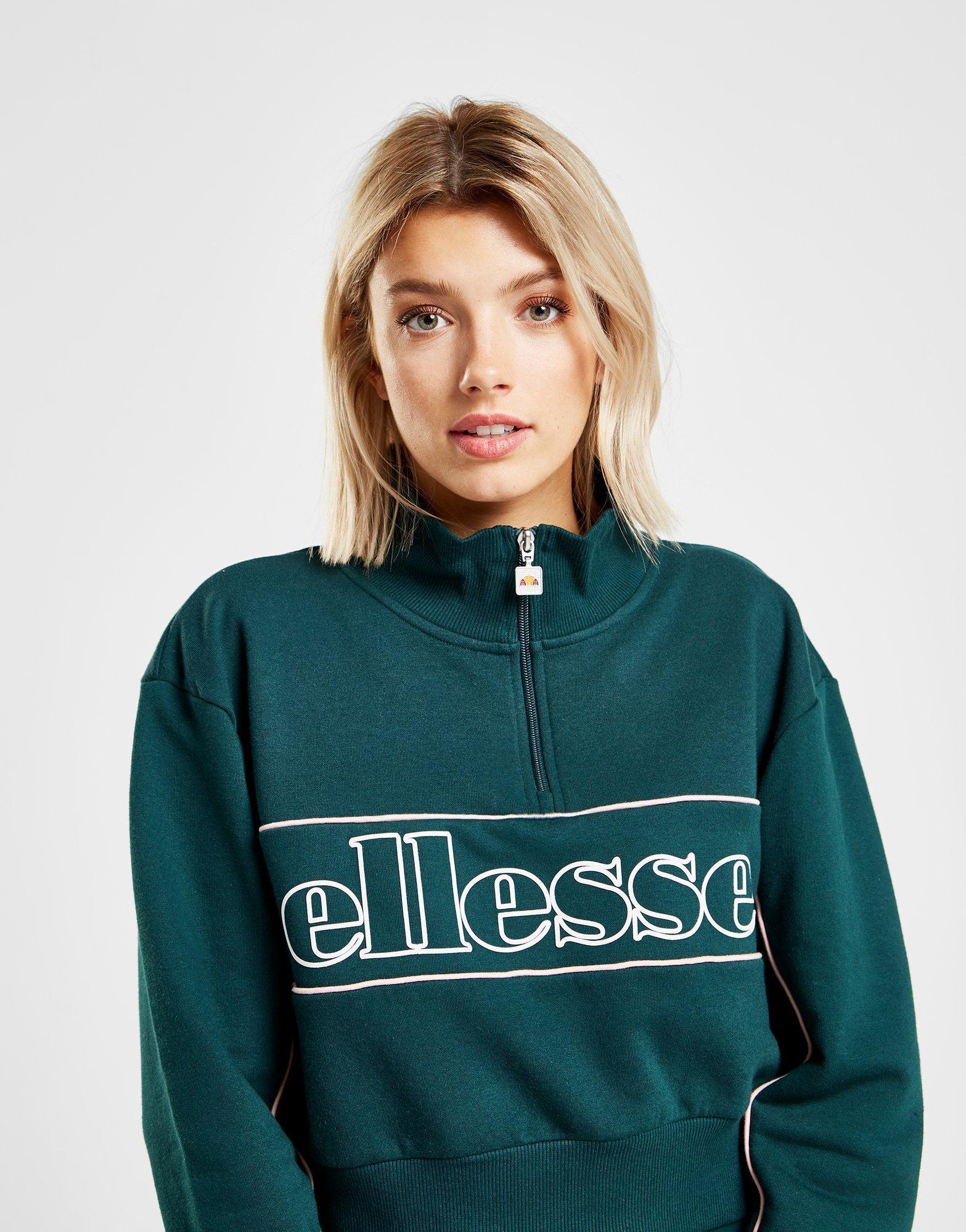 1107b65695 Ellesse Green Piping Crop 1/2 Zip Sweatshirt