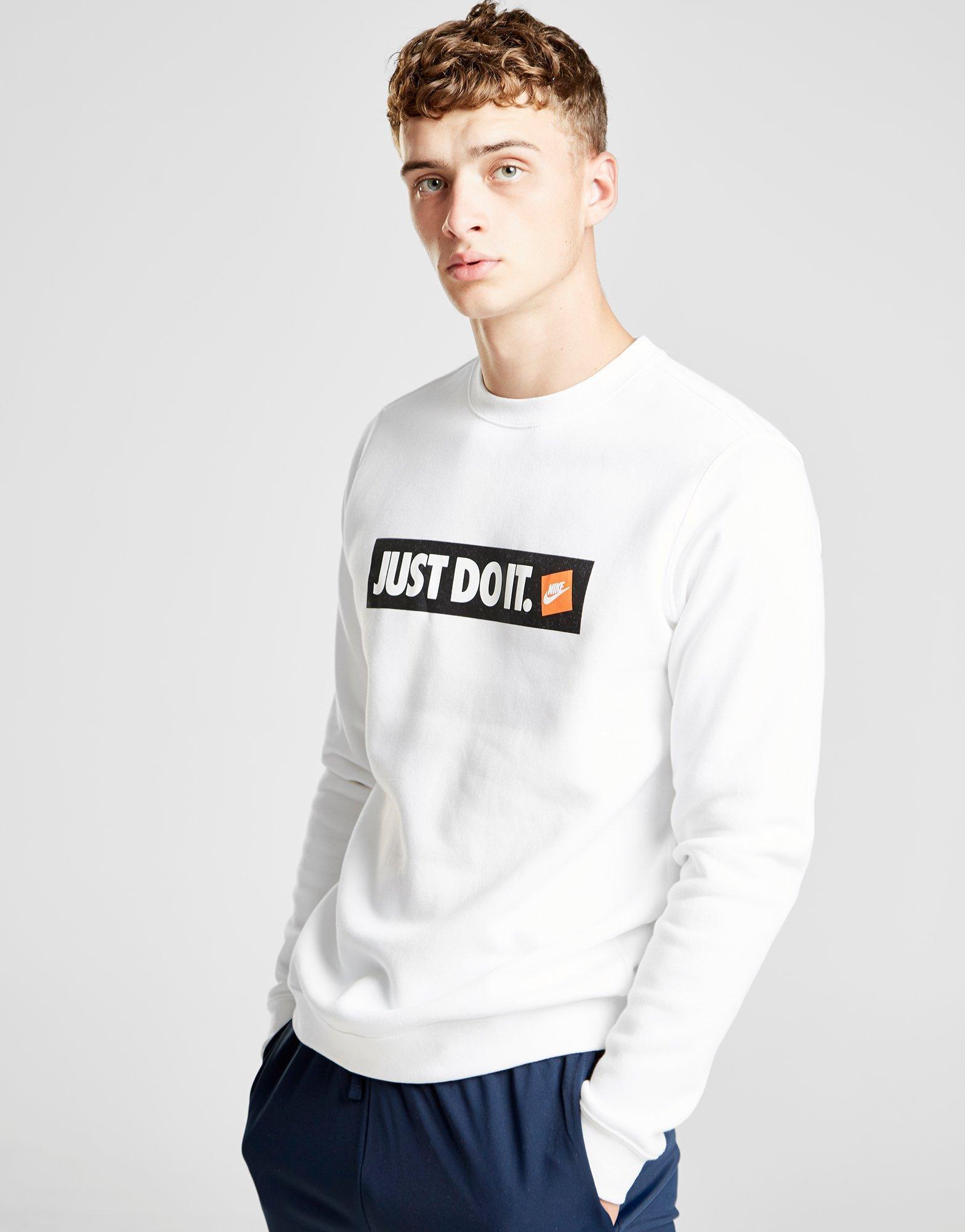 d29938dc Lyst - Nike Just Do It Logo Sweatshirt in White for Men
