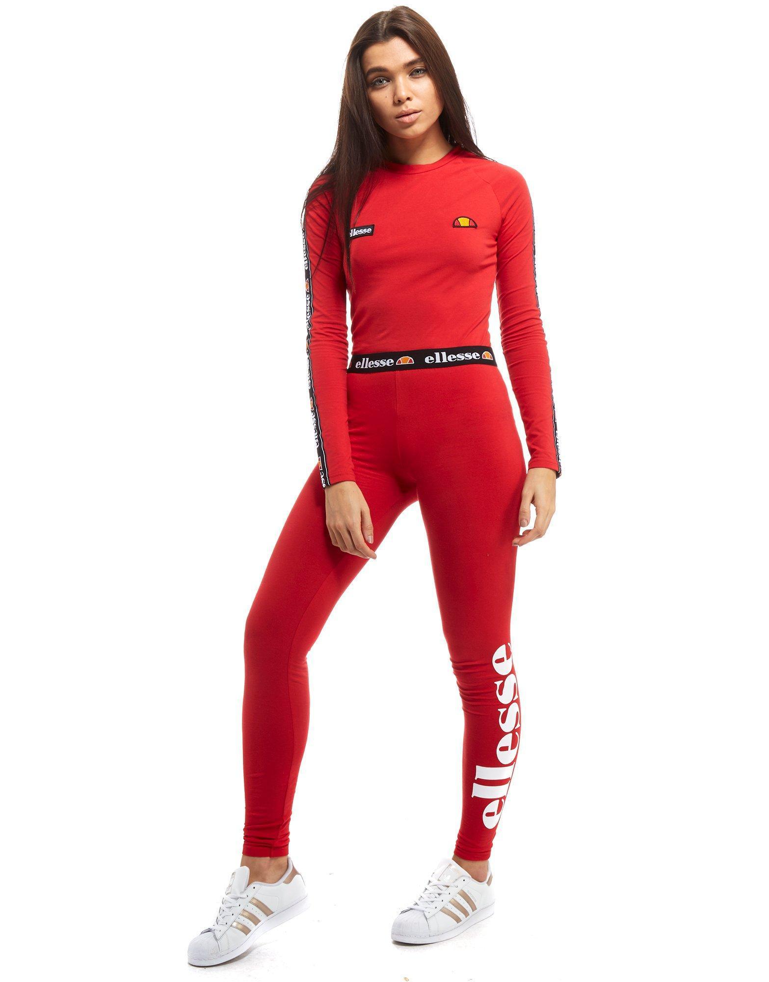 lyst ellesse tape waist leggings in red