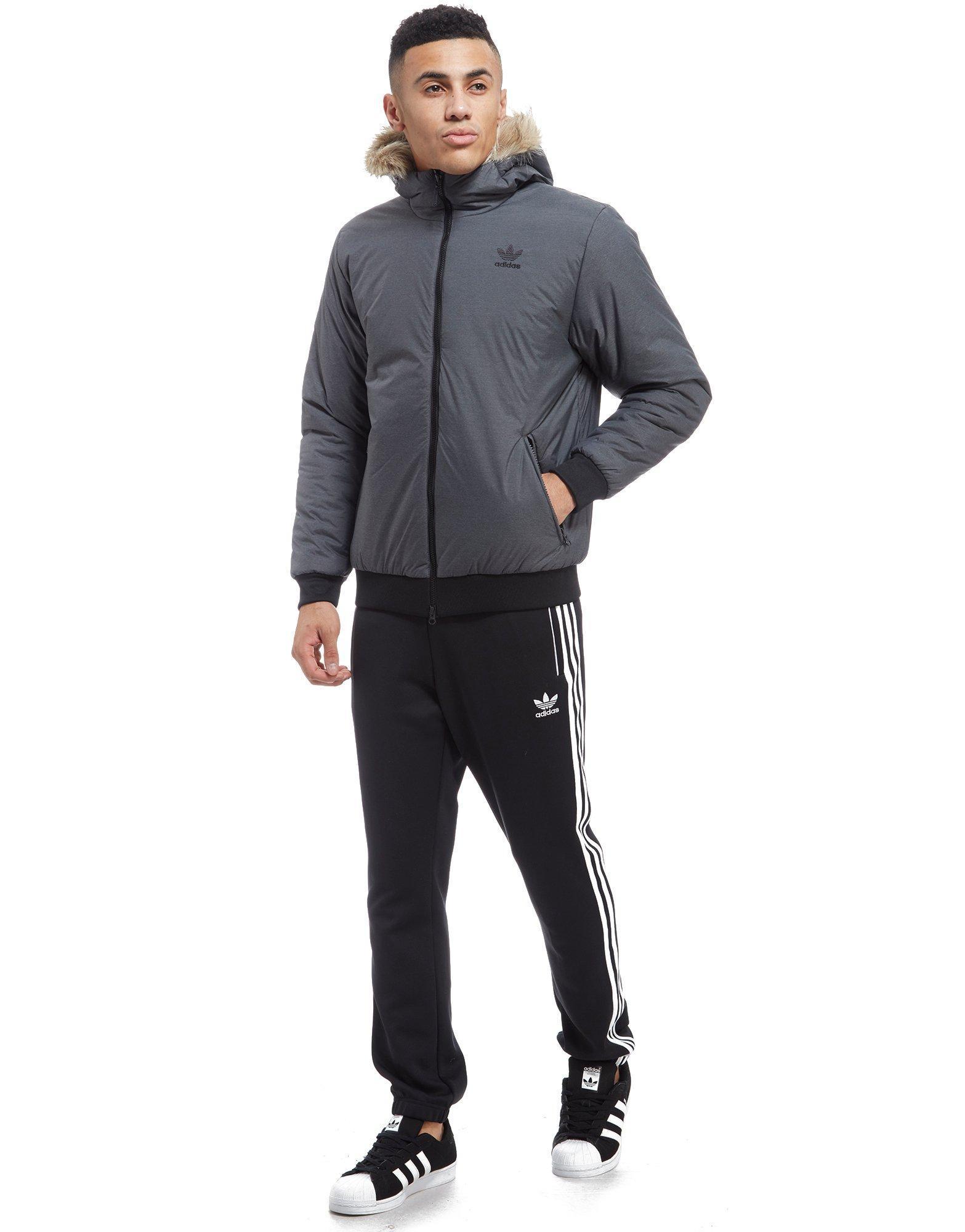 adidas Originals Trefoil Fur Parka Jacket in Grey (Grey ...