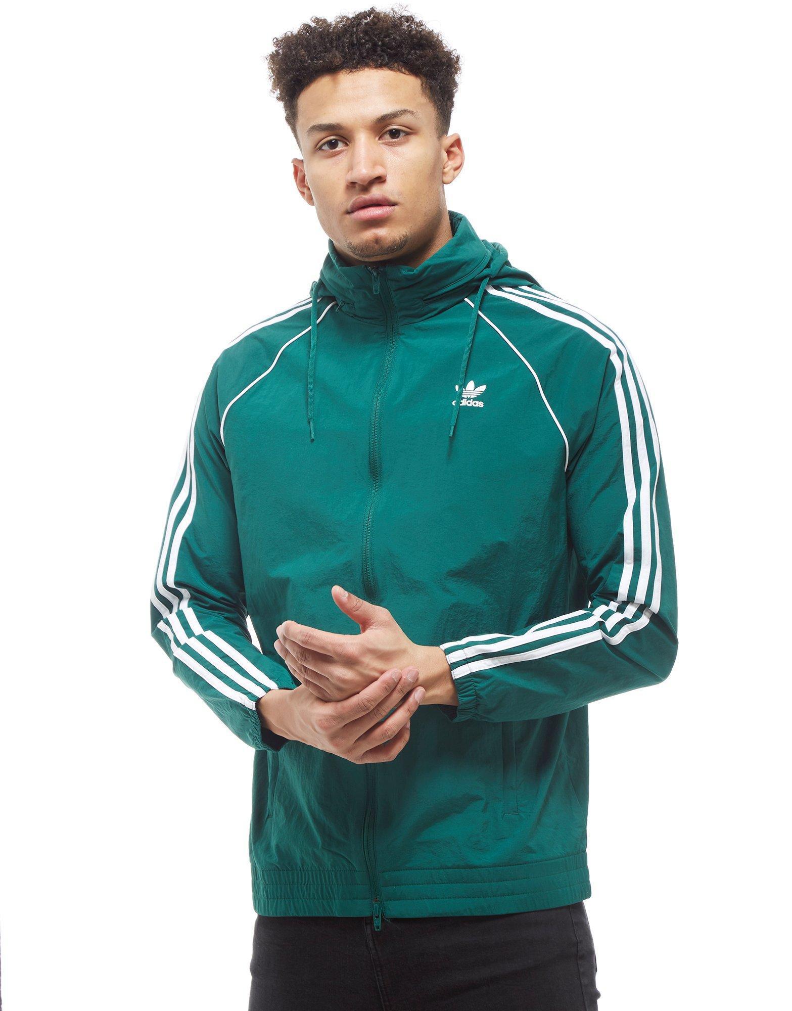 Adidas Originals Mens Superstar Windbreaker Green White In Green For