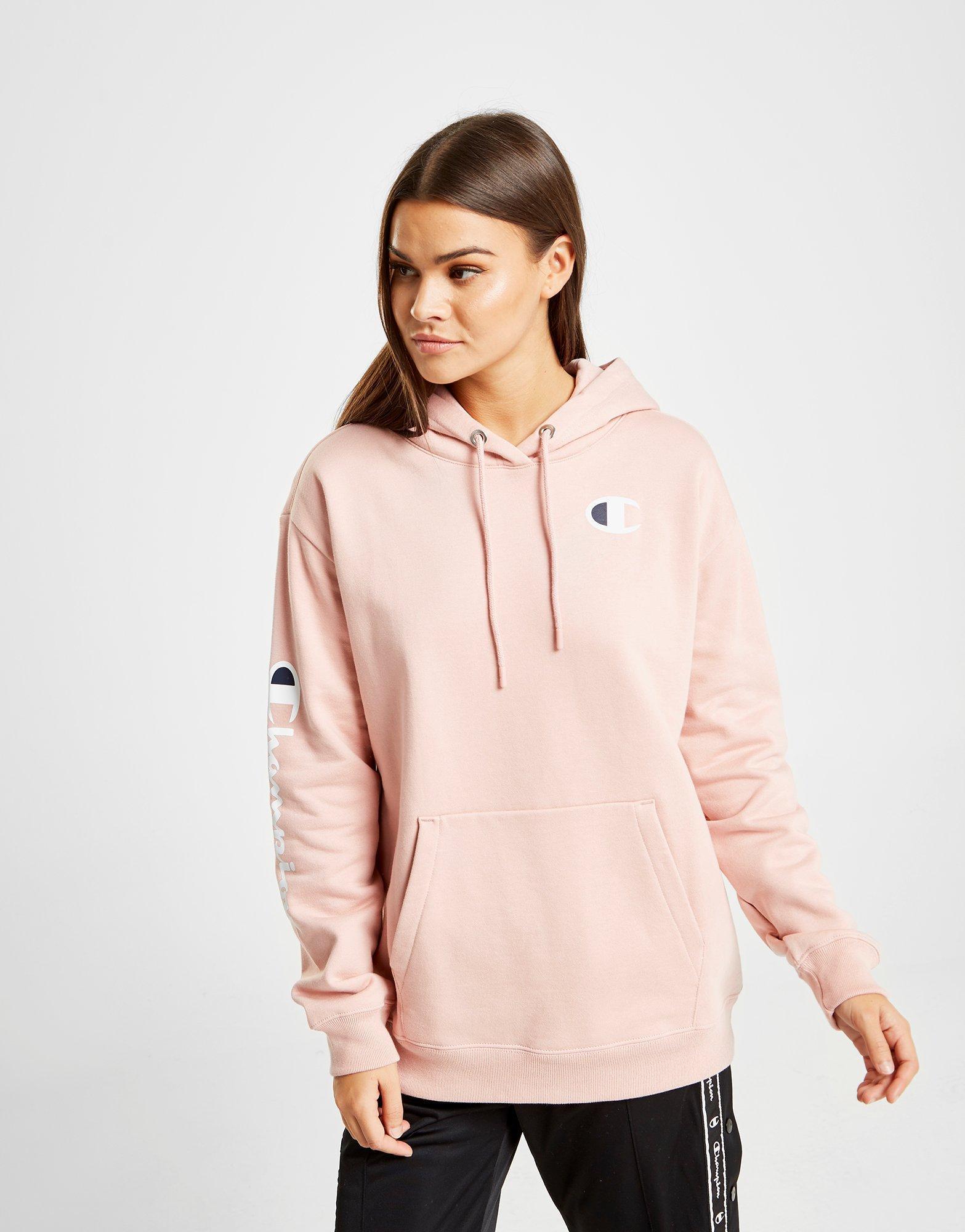 Sleeve Hoodie Champion Pink Script Boyfriend b6gf7y
