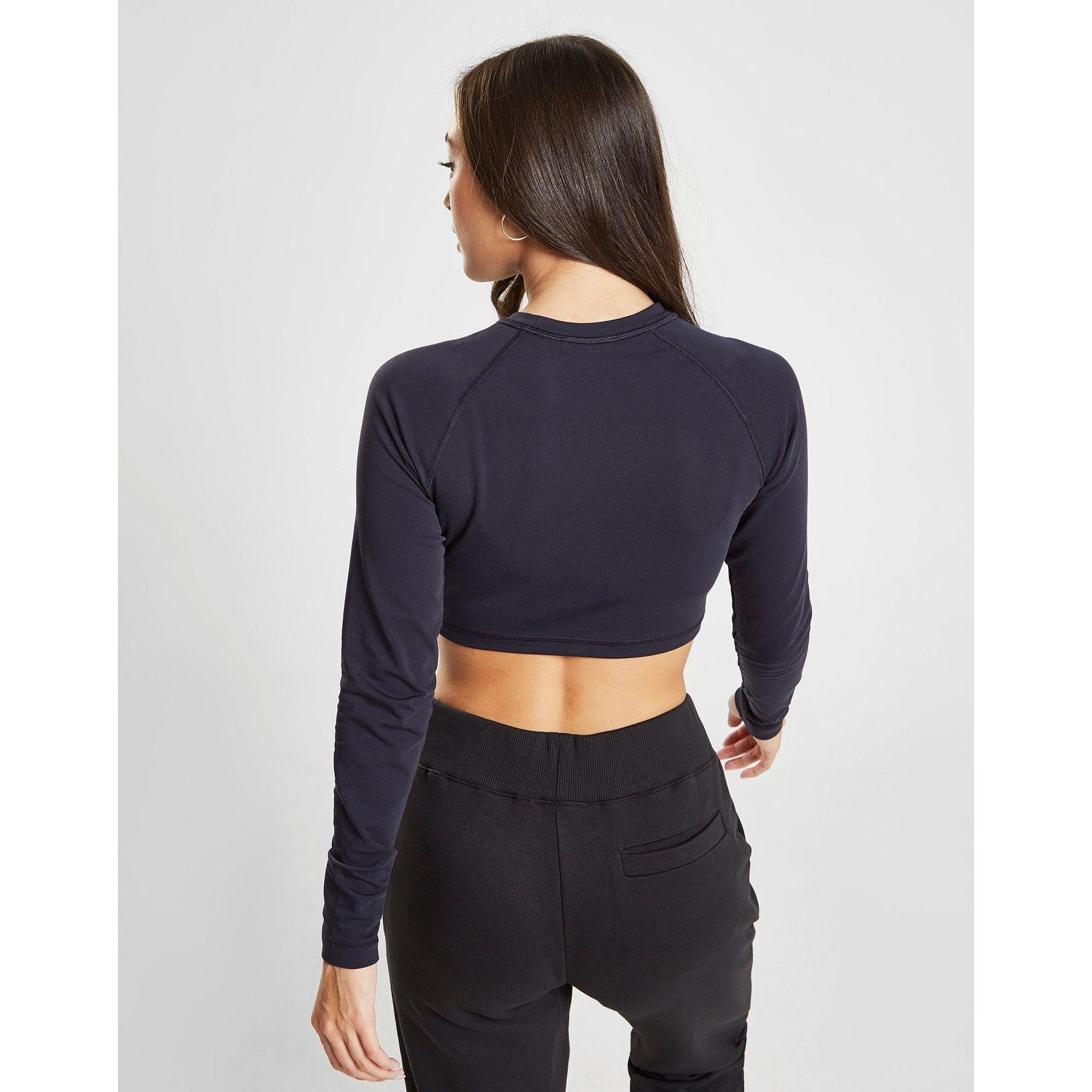 b836cc901752d Tommy Hilfiger - Blue Logo Long Sleeve Crop Top - Lyst. View fullscreen