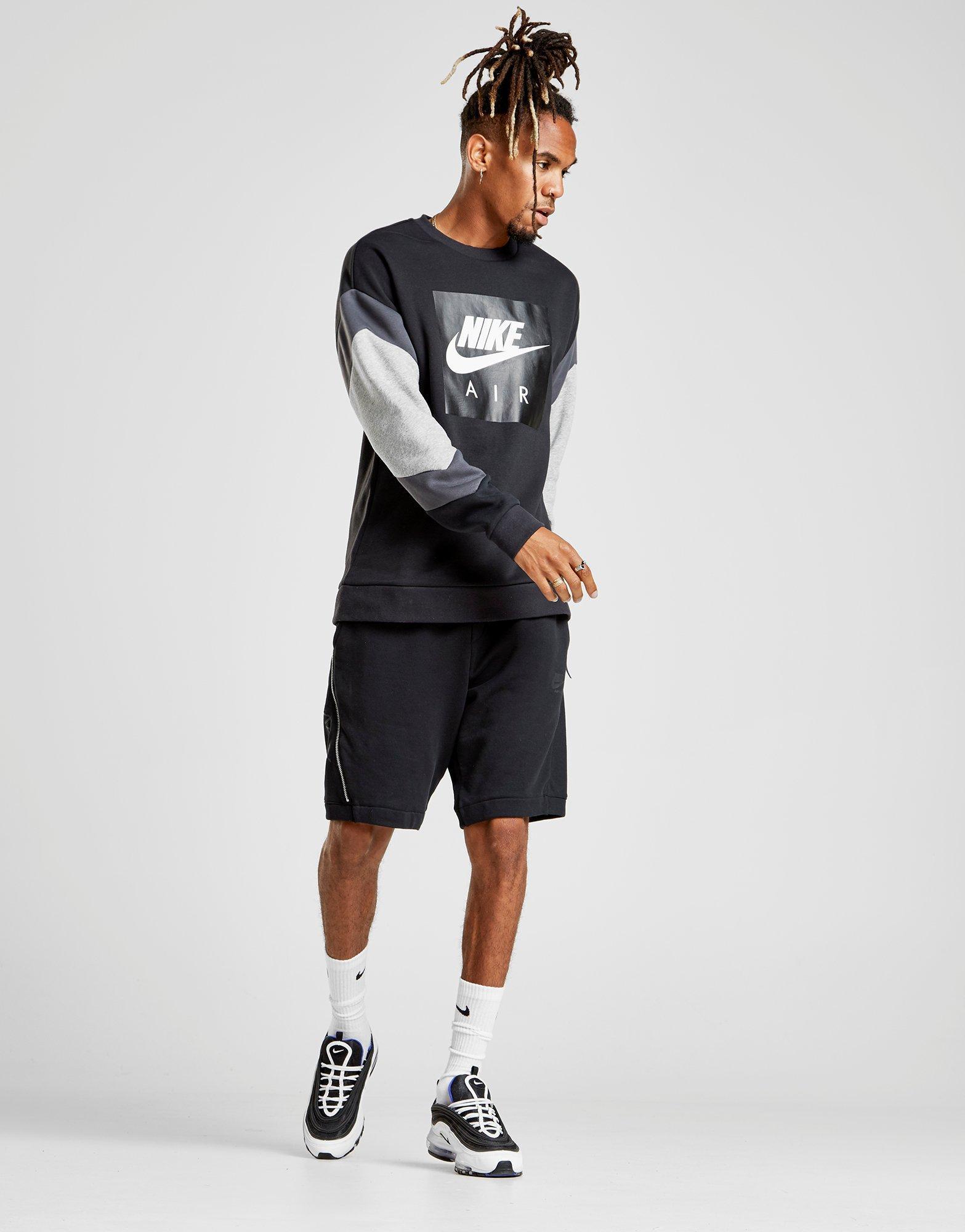 Nike For Men Lyst Sleeve Colour In Air Block Black Sweatshirt f1w1Cqd
