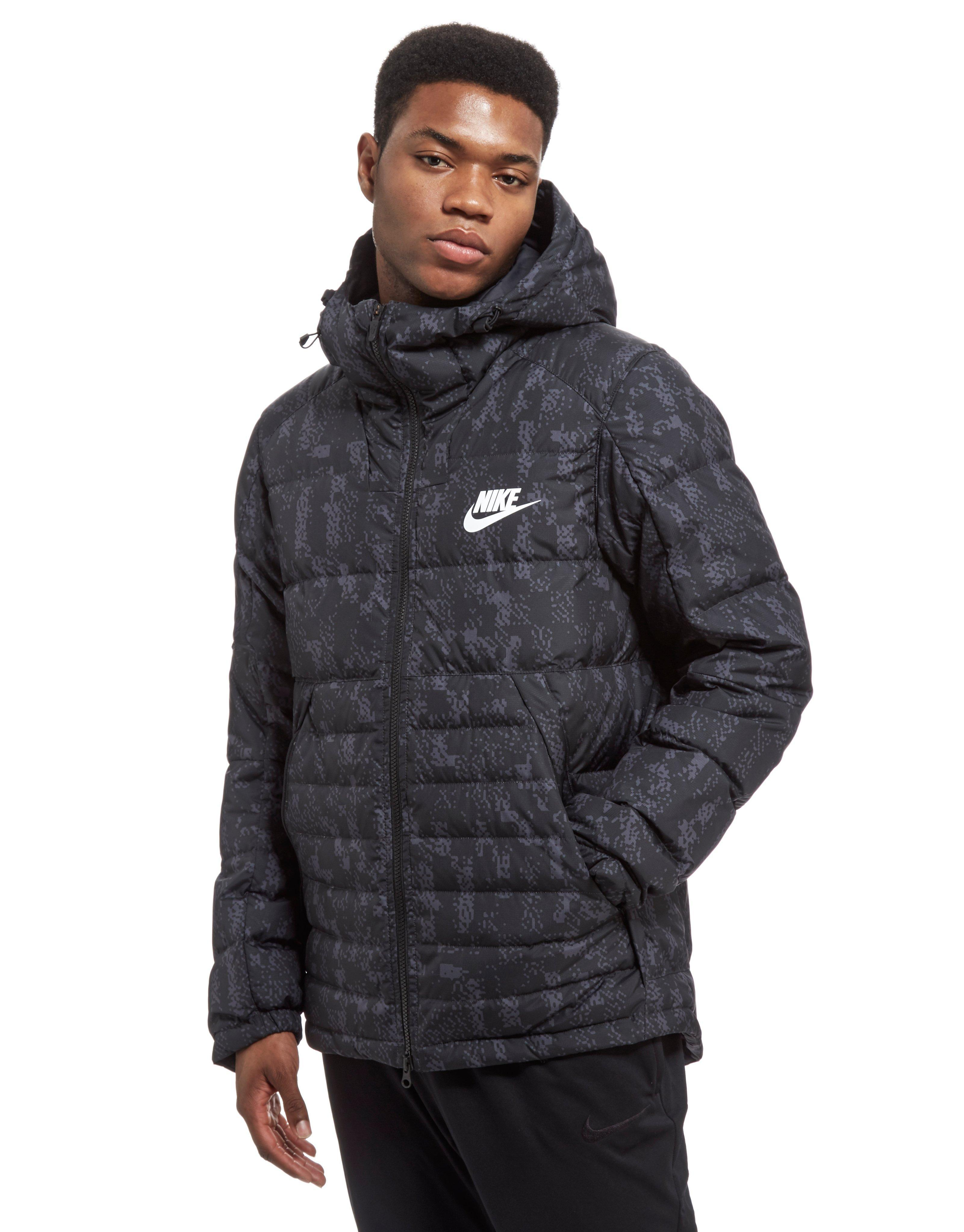 Lyst - Nike Printed Down Fill Hooded Jacket in Black for Men f1d3d6b2d