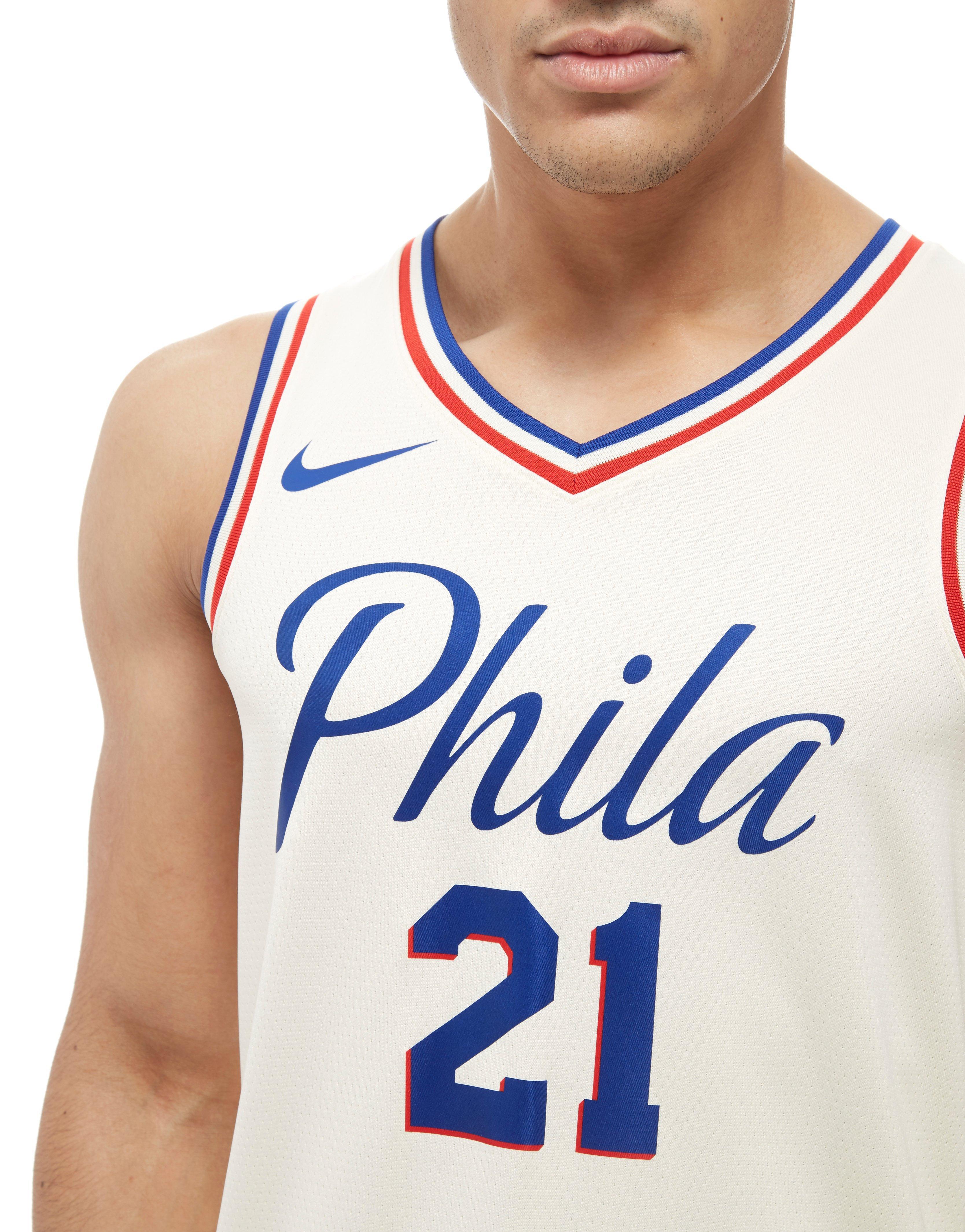 timeless design df05a 0336a Nike White Nba Embiid Philadelphia 76ers City Jersey for men