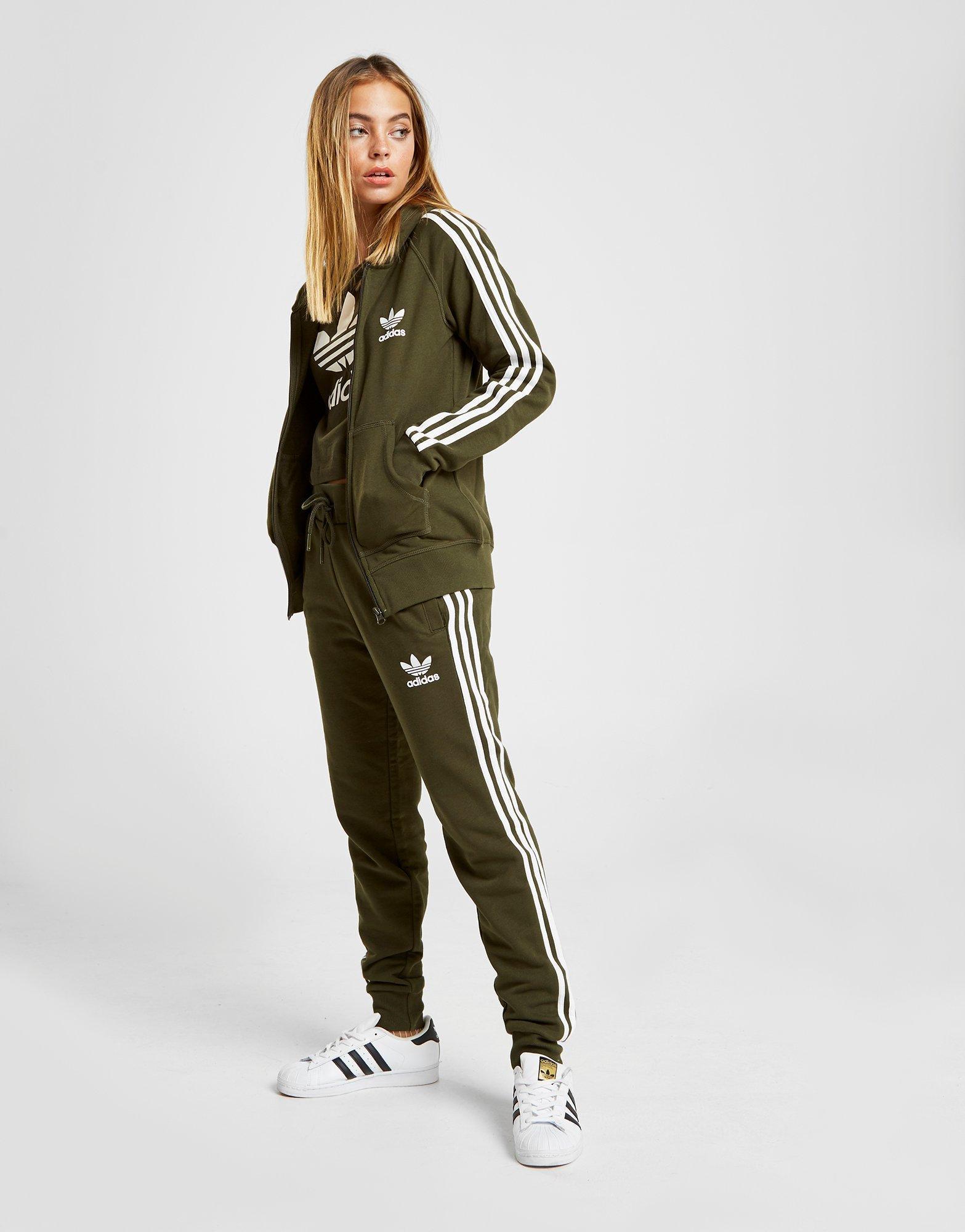 b53b296e Adidas Originals Green 3-stripes California Full Zip Hoodie
