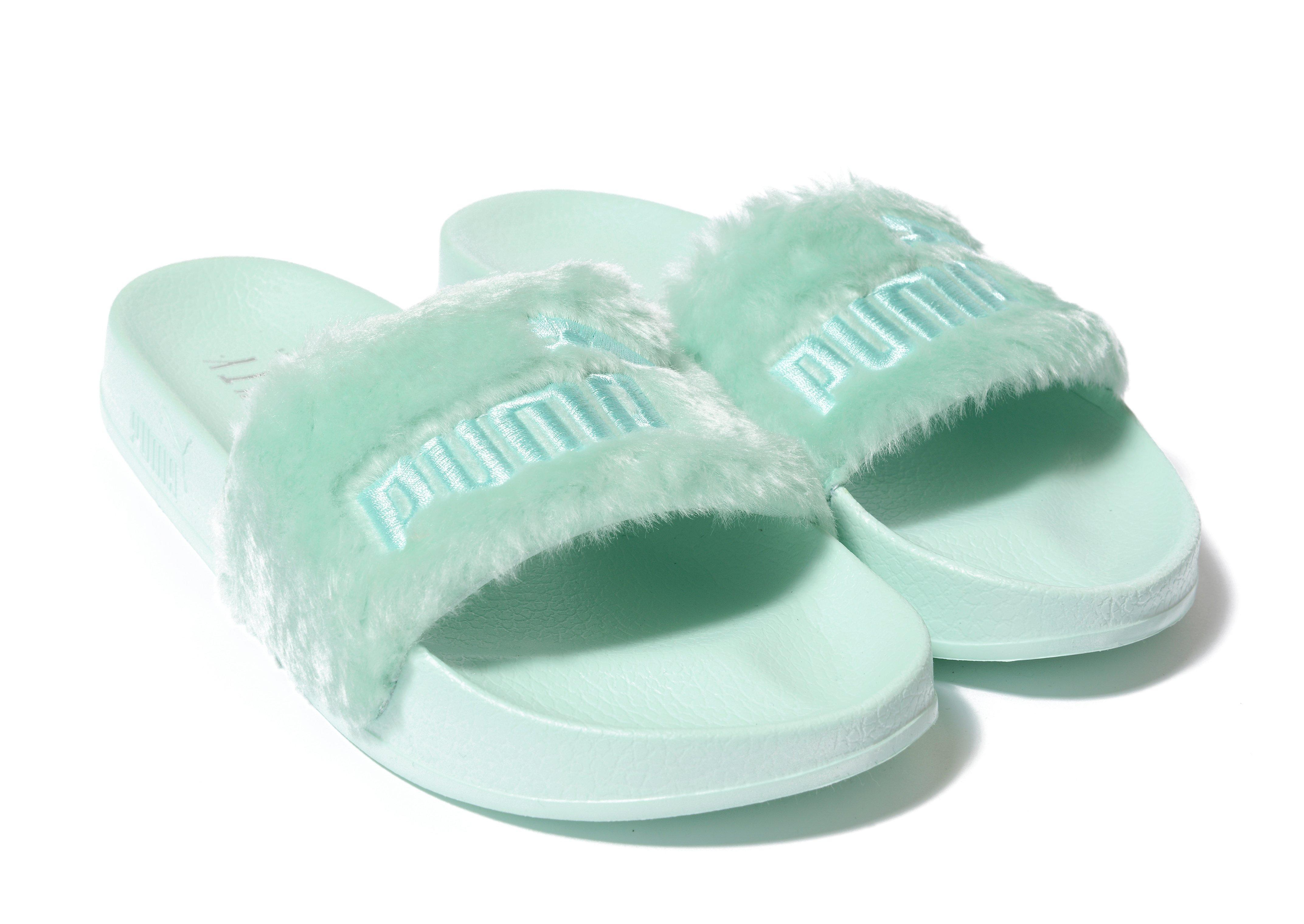 buy popular dd300 16edf PUMA Green Fenty Fur Slides