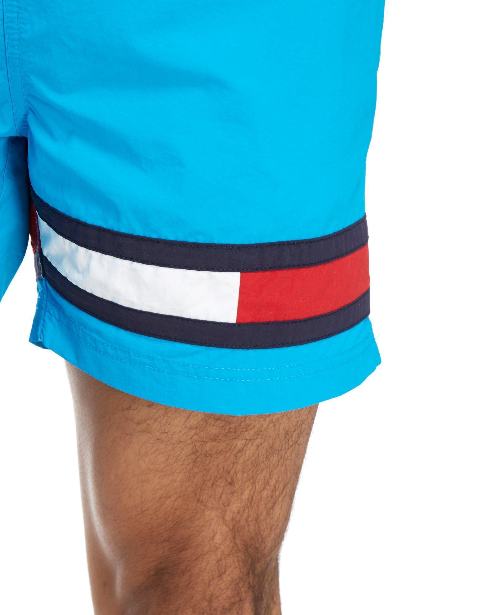 Tommy Hilfiger Flag Logo Swim Shorts In Blue For Men Lyst