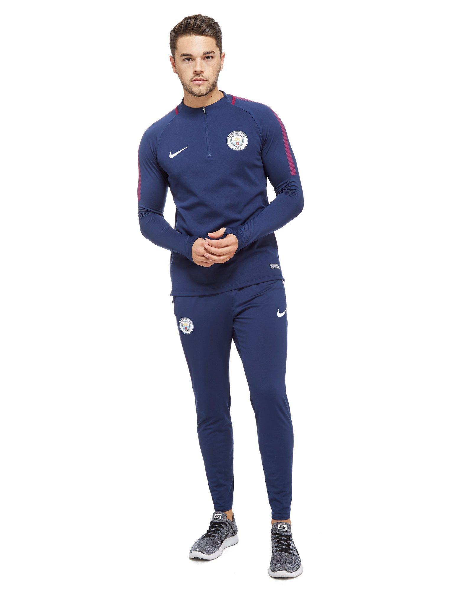 lyst nike manchester city fc 2017 18 squad pants in blue for men. Black Bedroom Furniture Sets. Home Design Ideas