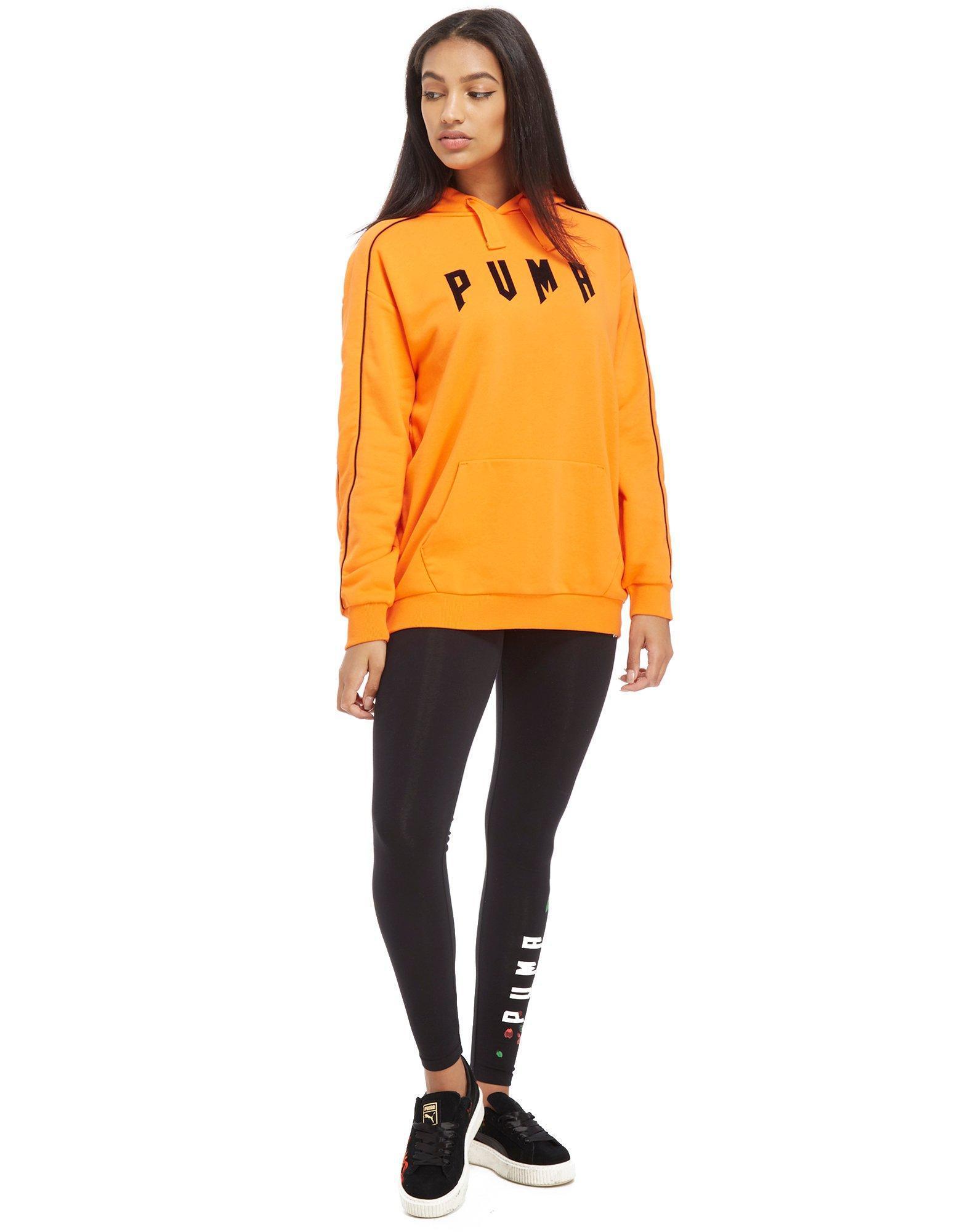 PUMA Orange Gothic Floral Boyfriend Hoodie