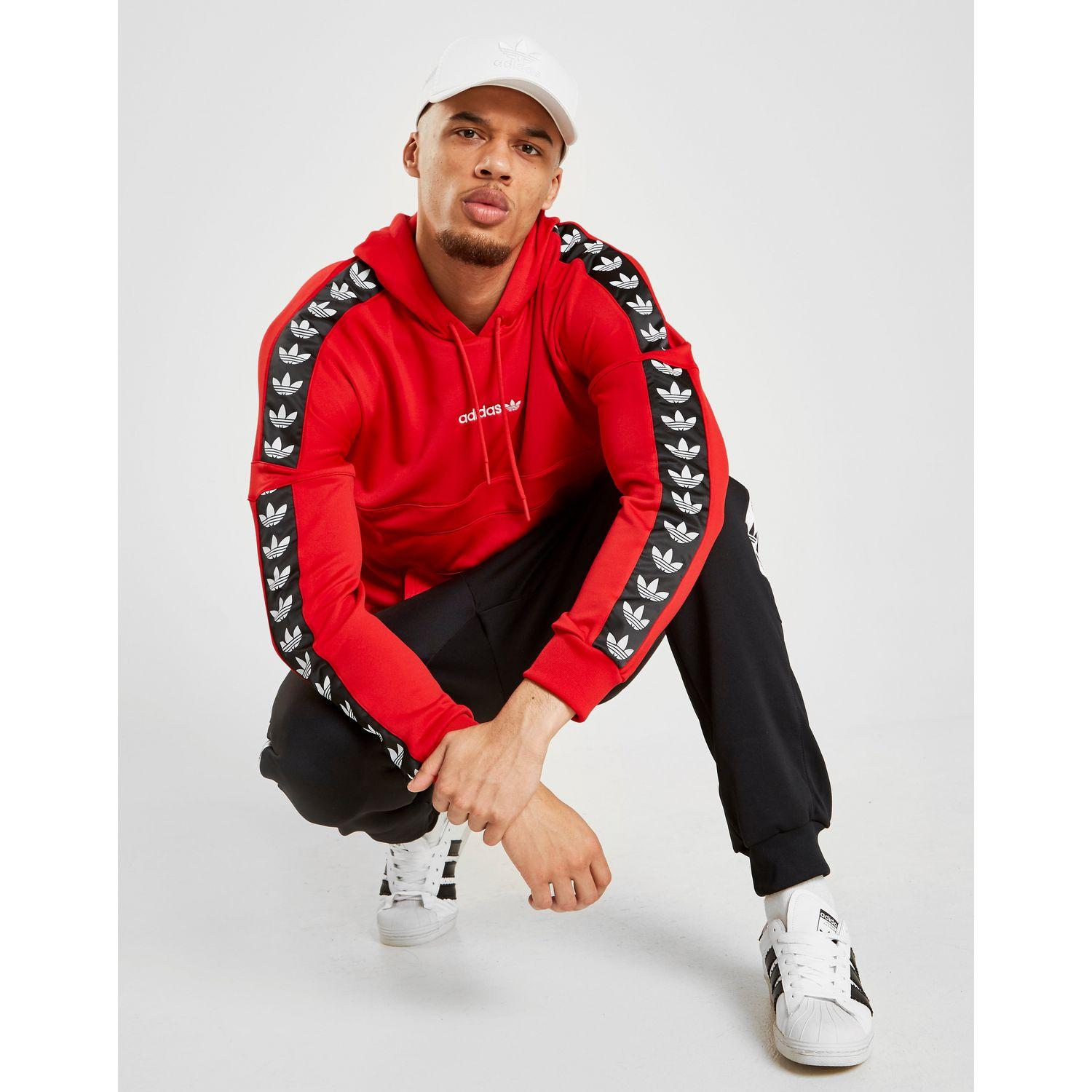 4c53a99d Lyst - adidas Originals Overhead Tape Hoodie in Red for Men