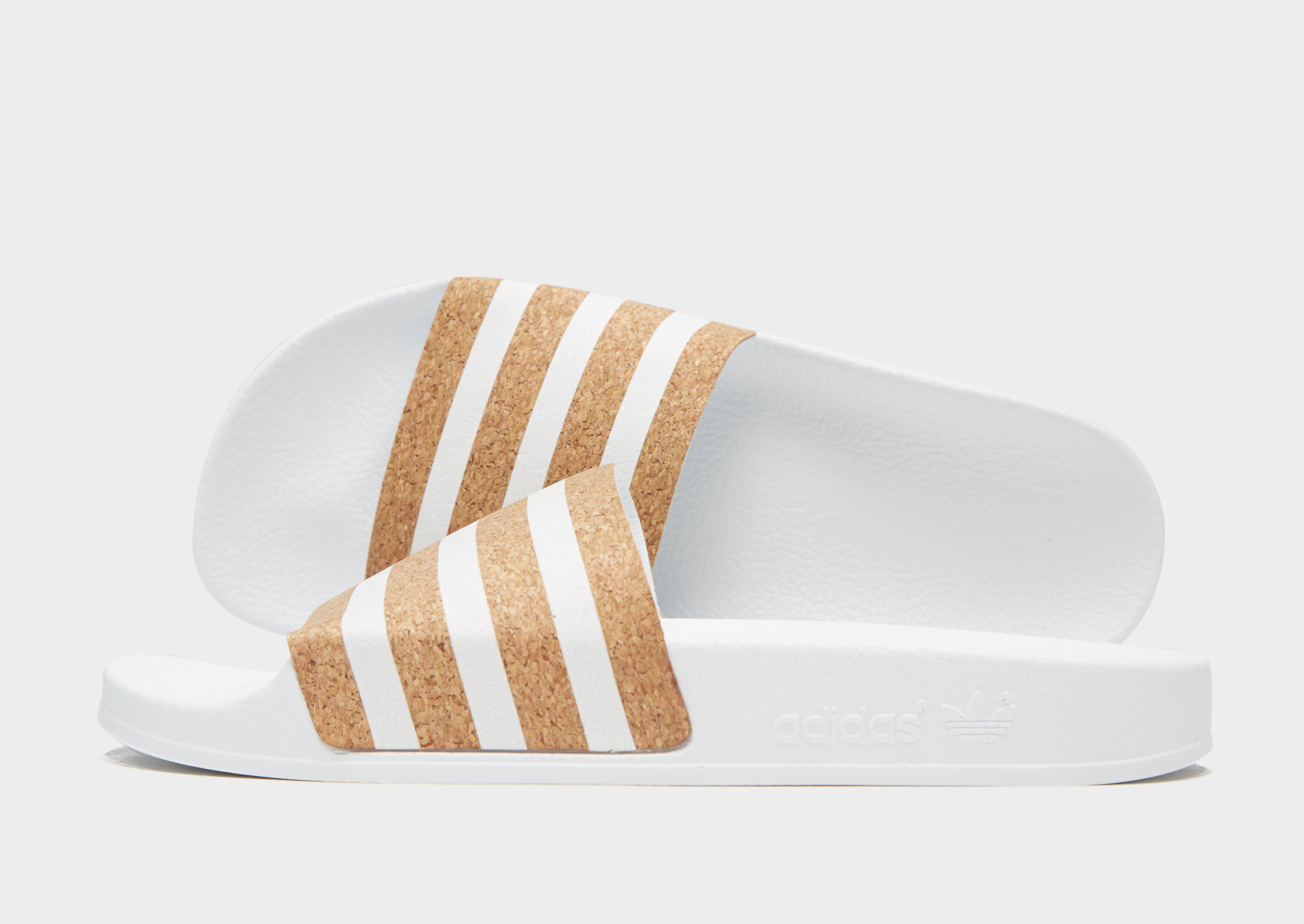 d27618c07a3c5 adidas Originals Adilette Slides in White - Lyst