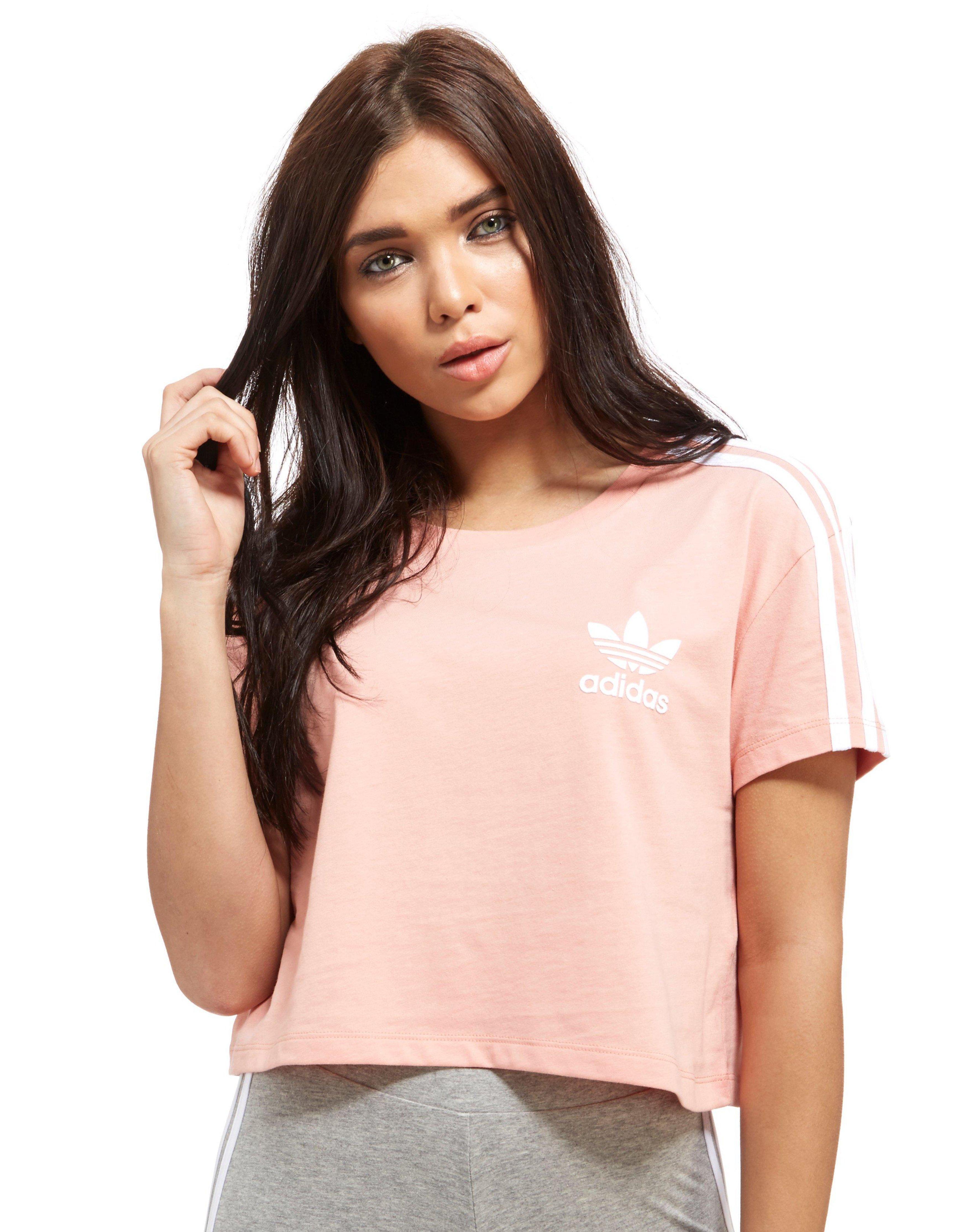 lyst adidas originals crop california t shirt in pink. Black Bedroom Furniture Sets. Home Design Ideas