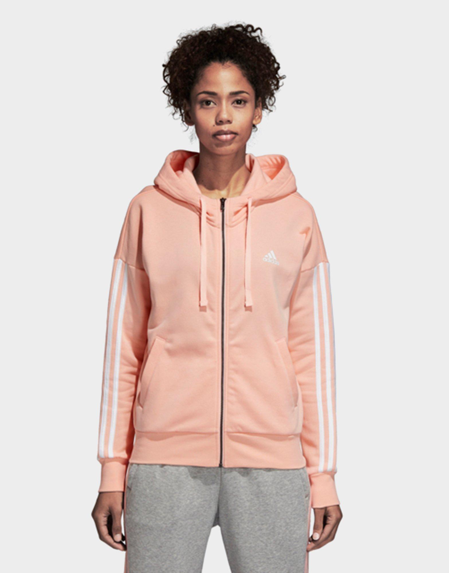 Lyst - Adidas Essentials 3 Stripes Full Zip Hoodie in Pink 07748ca625