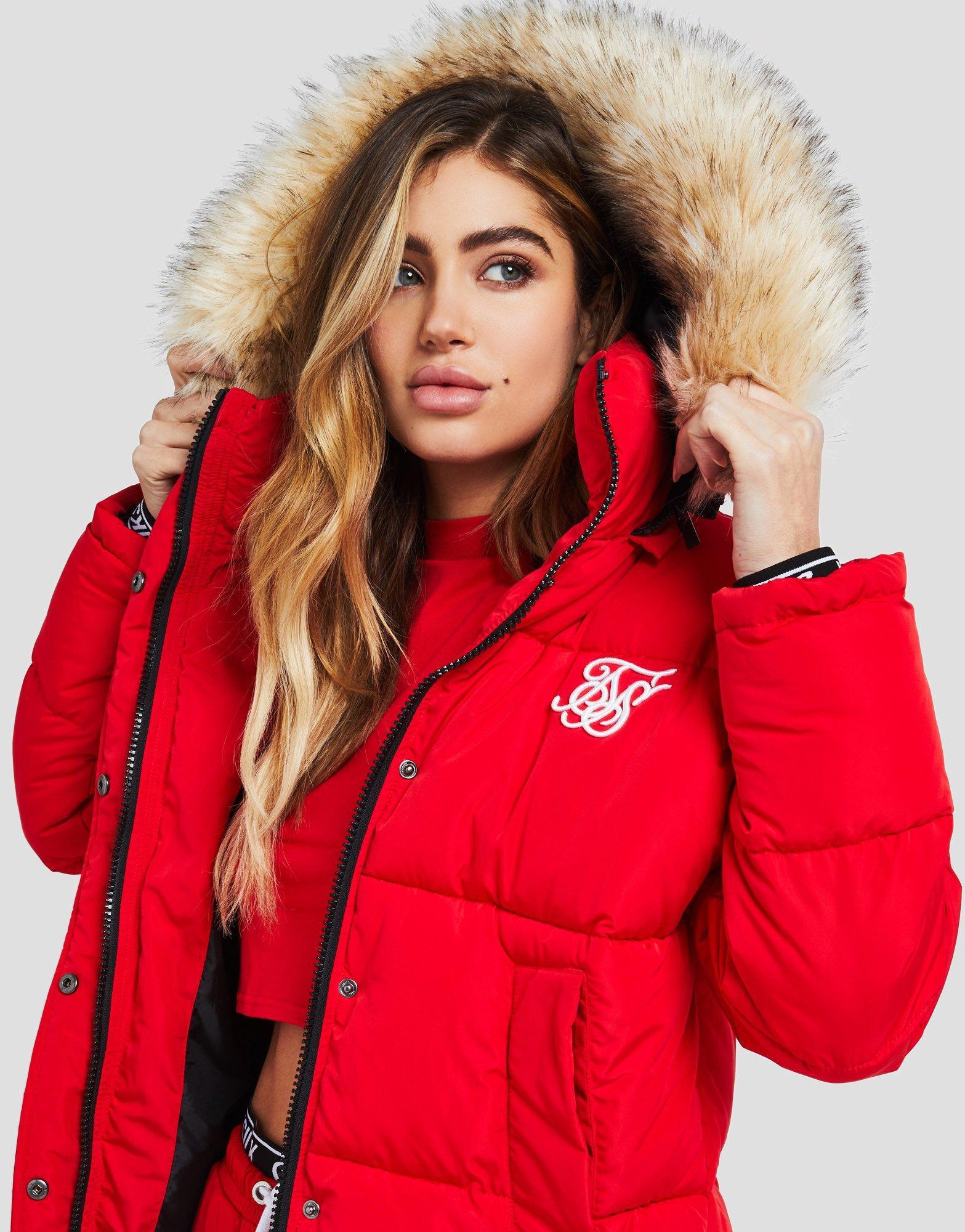 Lyst Siksilk Fur Hood Padded Jacket In Red