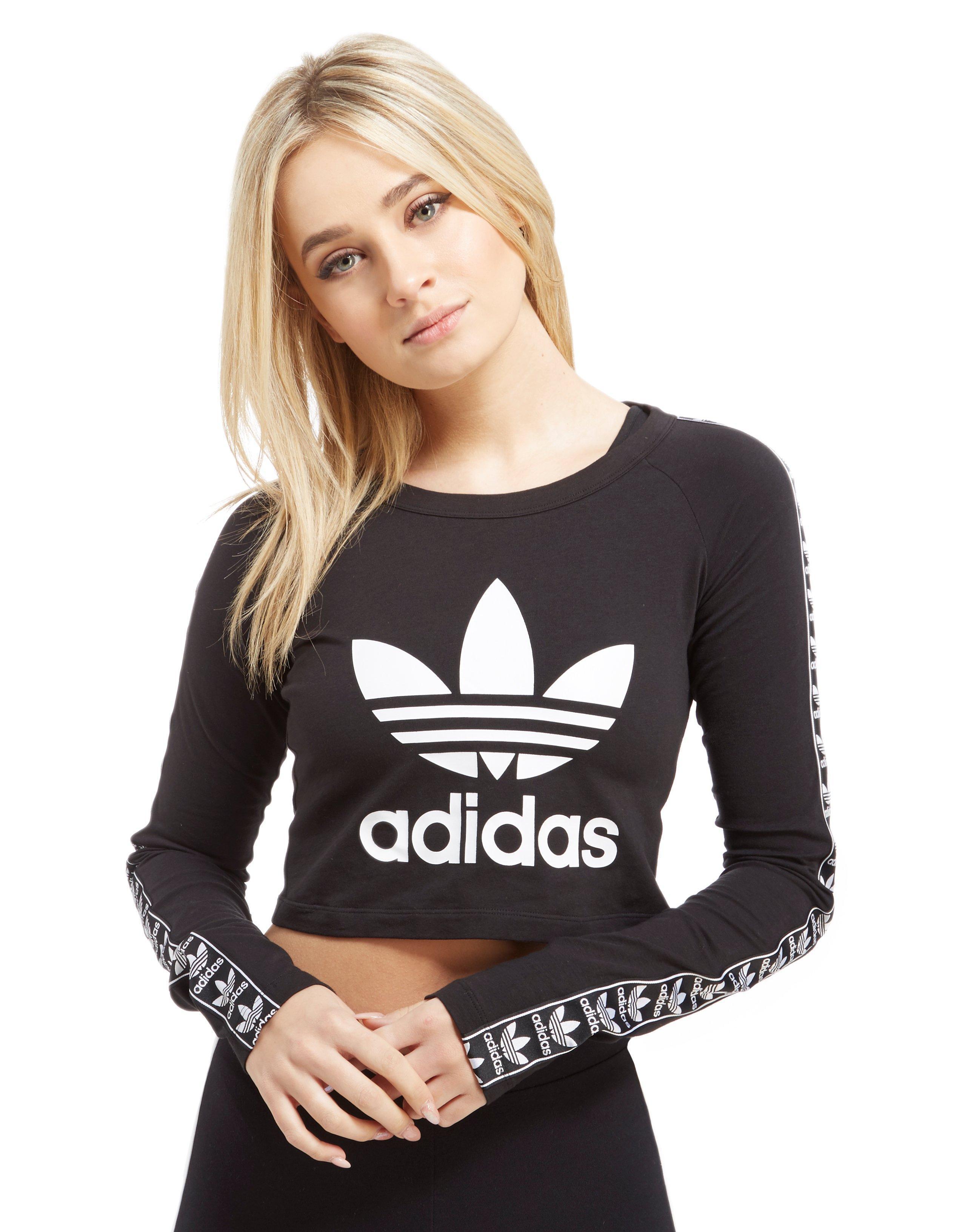 9b9a17d9d2c5 adidas Originals Tape Longsleeve Crop T-shirt in Black - Lyst