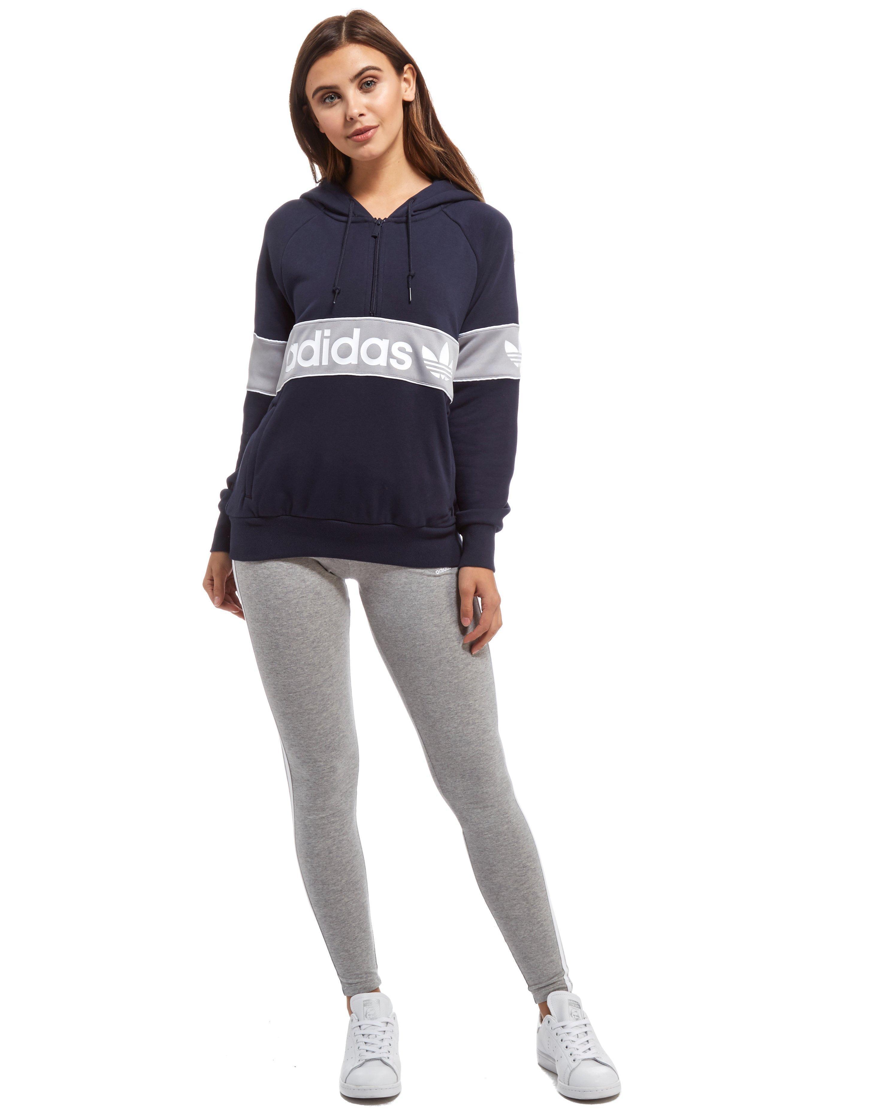 adidas Originals Authentic 1 2 Zip Hoodie in Blue - Lyst bd26c0dec2