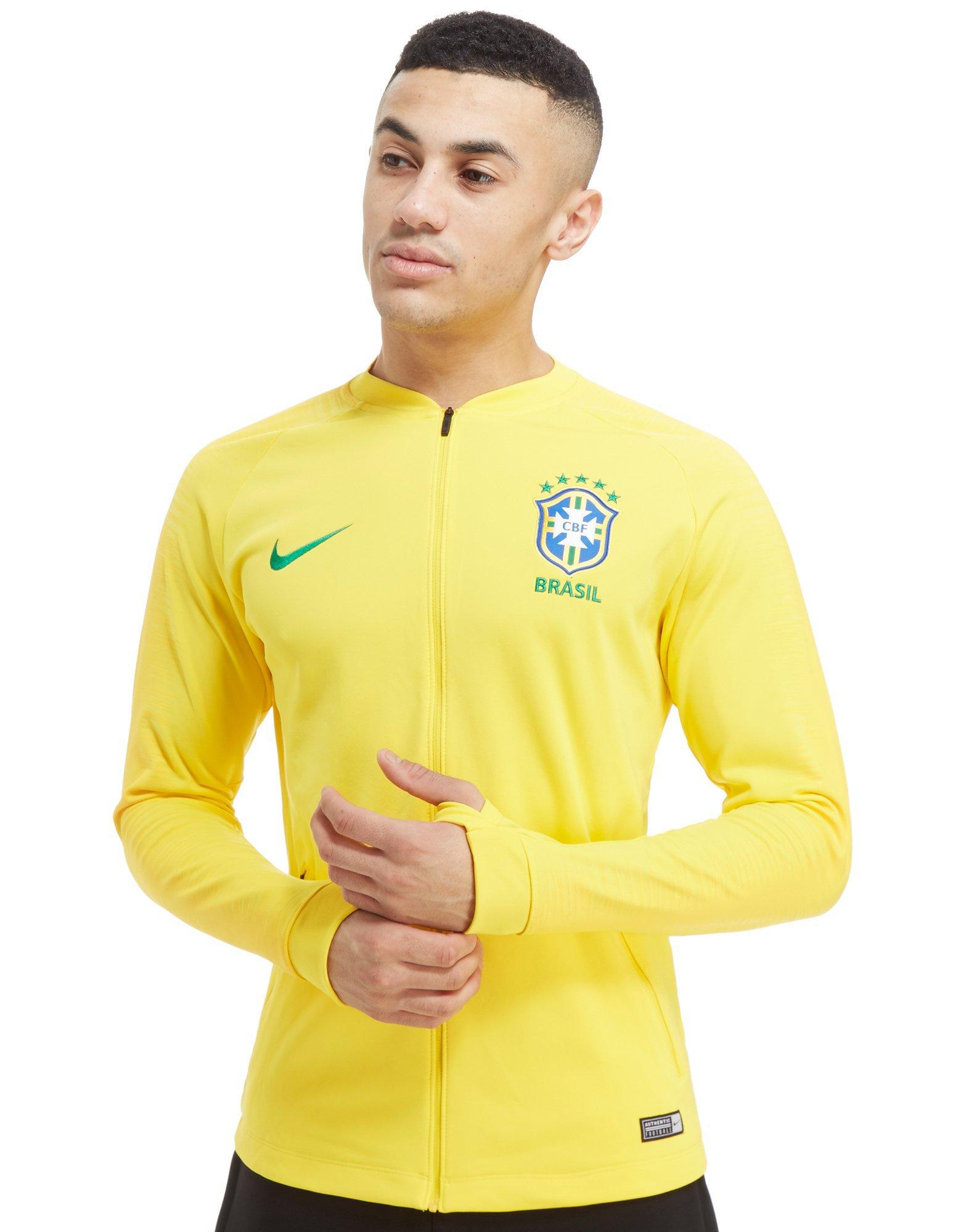 Oblicuo Especial por ciento  Nike Synthetic Brazil Anthem Jacket in Yellow for Men - Lyst