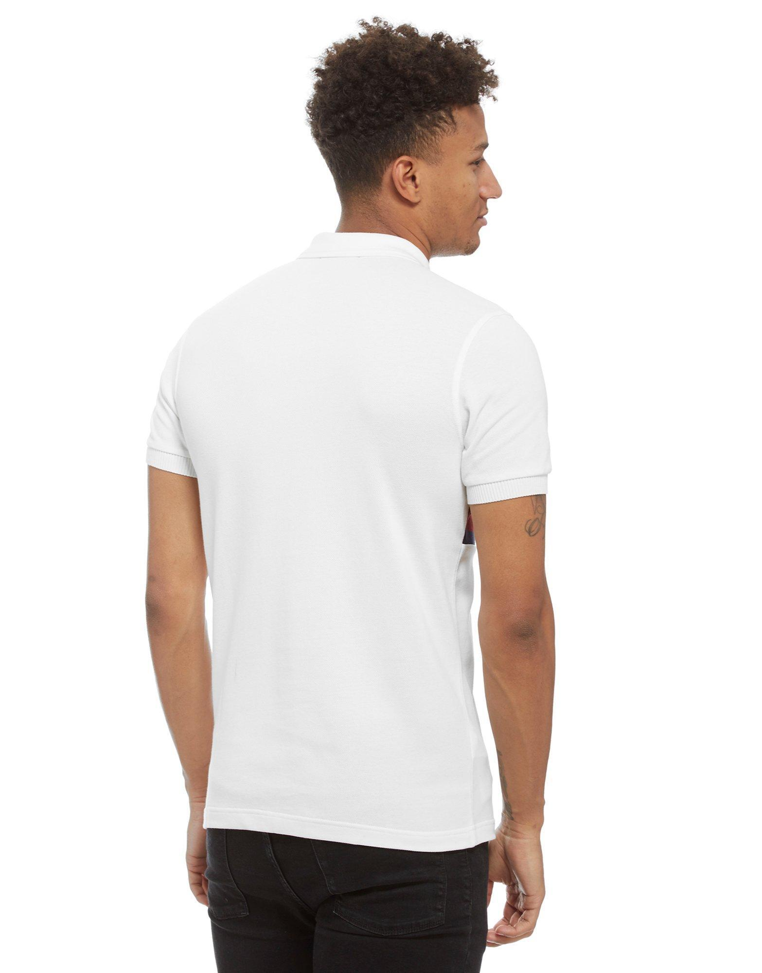 lyst fred perry stripe panel polo shirt in white for men. Black Bedroom Furniture Sets. Home Design Ideas