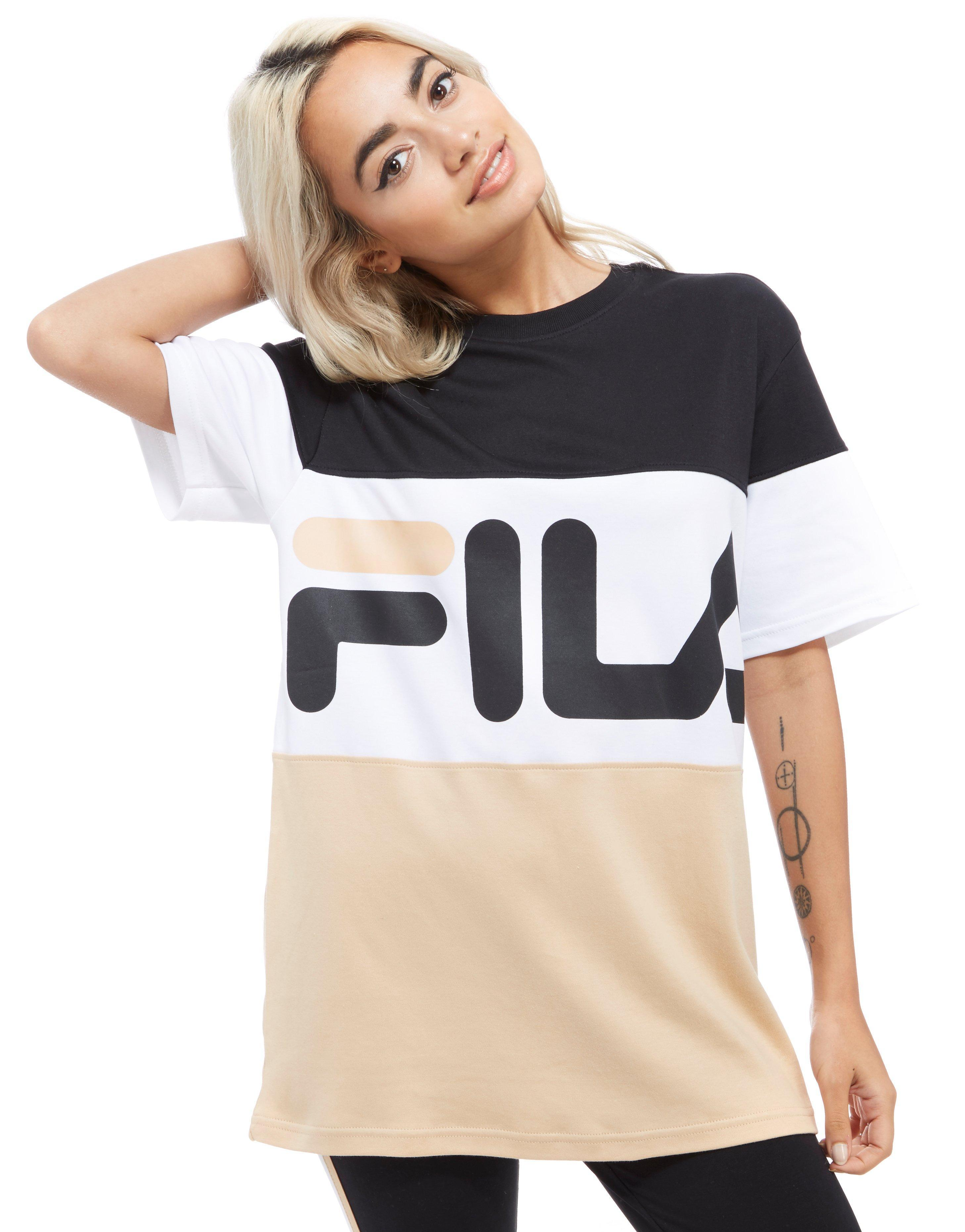 fila cotton boyfriend style t shirt in salmon white navy blue lyst