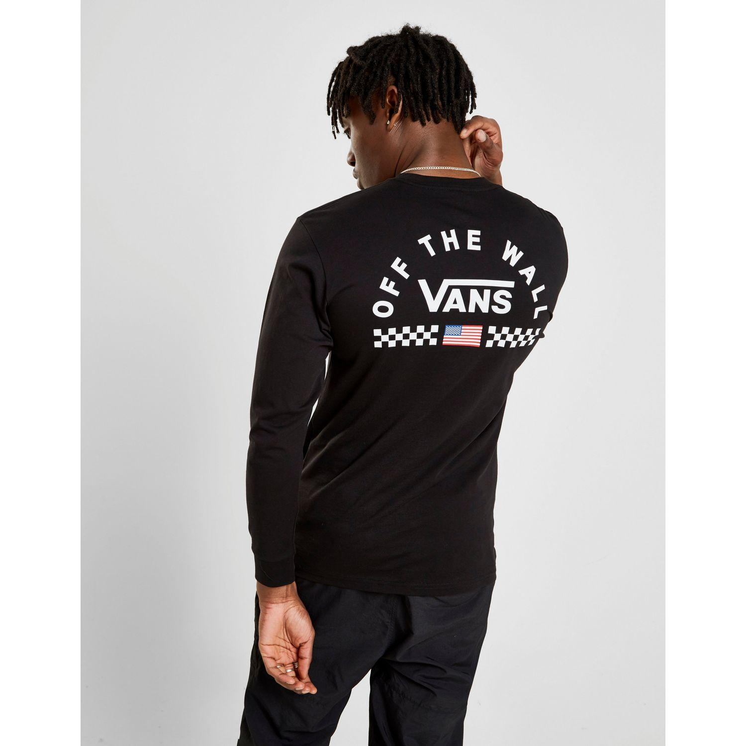 12a4aa20 Vans Long Sleeve Arch Back Logo T-shirt in Black for Men - Lyst