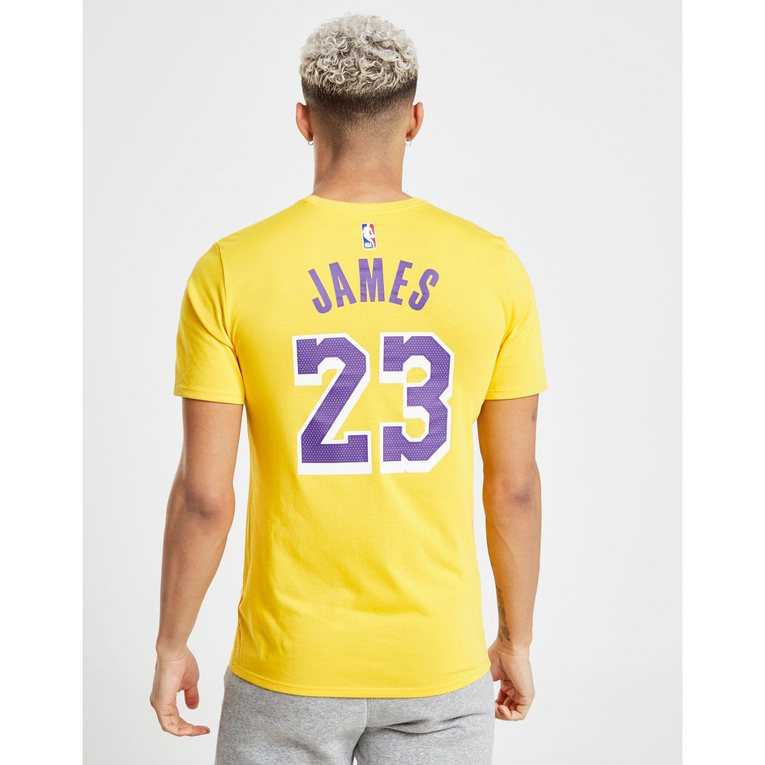 online store e6165 b4b91 Nike Nba Los Angeles Lakers Lebron James  23 T-shirt in Yellow for ...
