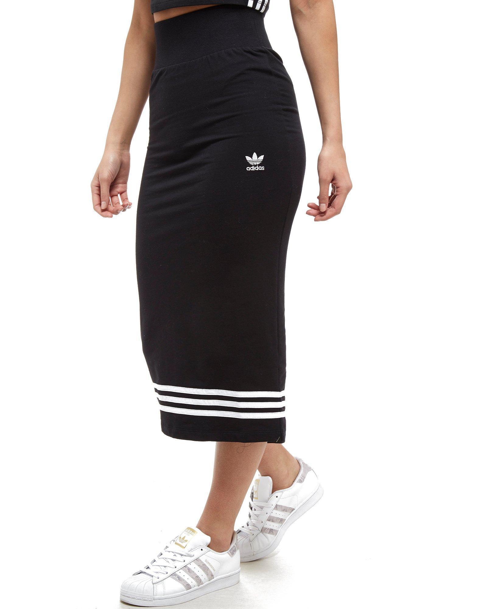 72b4e94474 adidas Originals 3-stripes Midi Skirt in Black - Lyst
