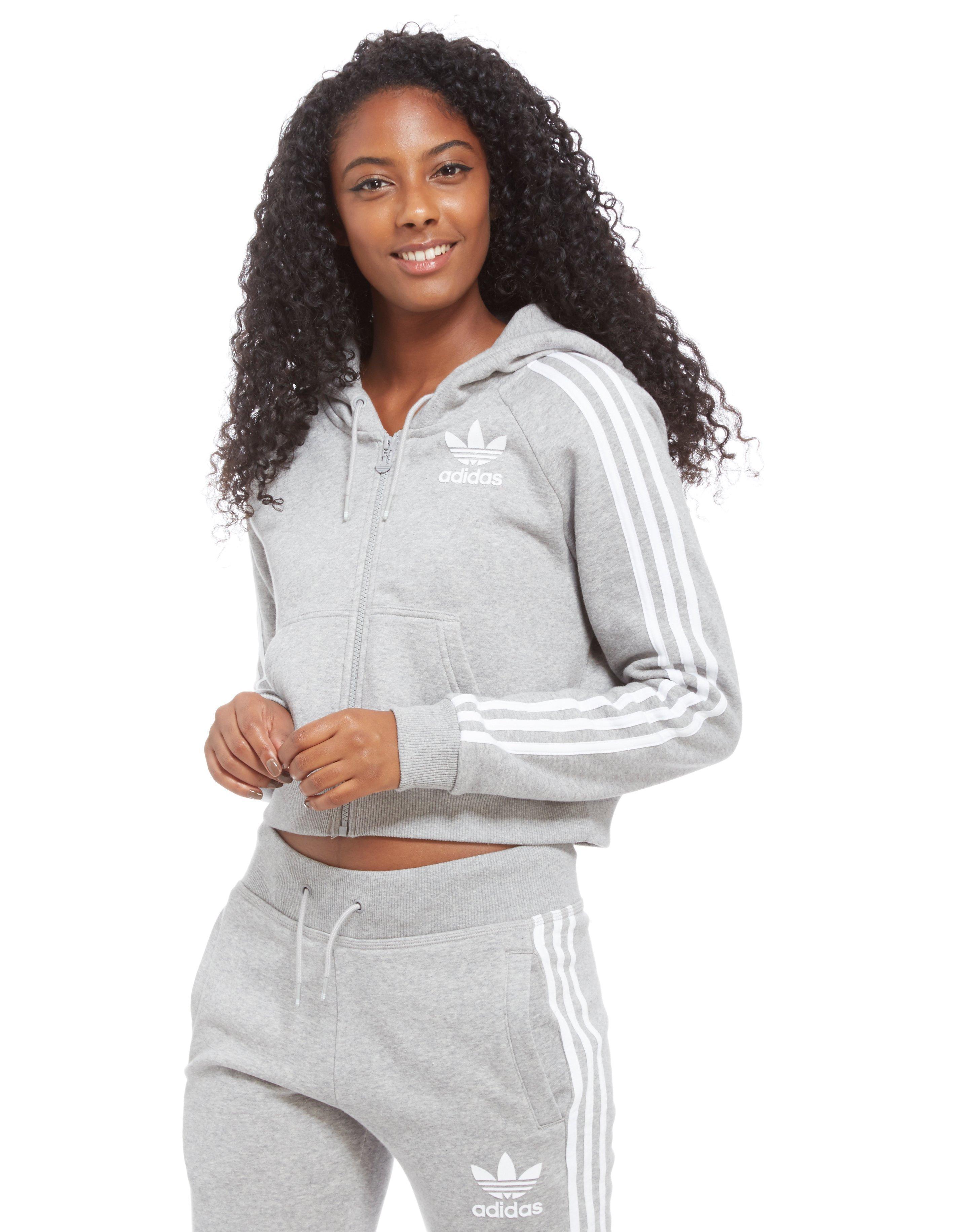 grey adidas cropped hoodie