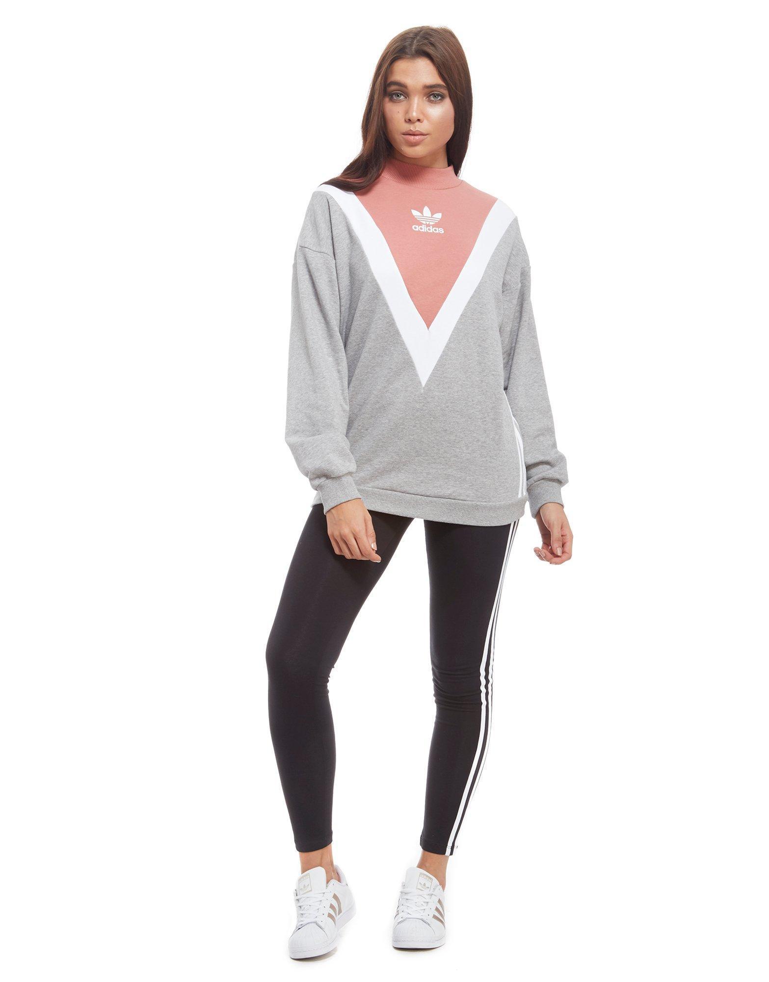 parque Natural peine diluido  adidas Originals Chevron Sweatshirt in Grey/White/Pink (Gray) - Lyst