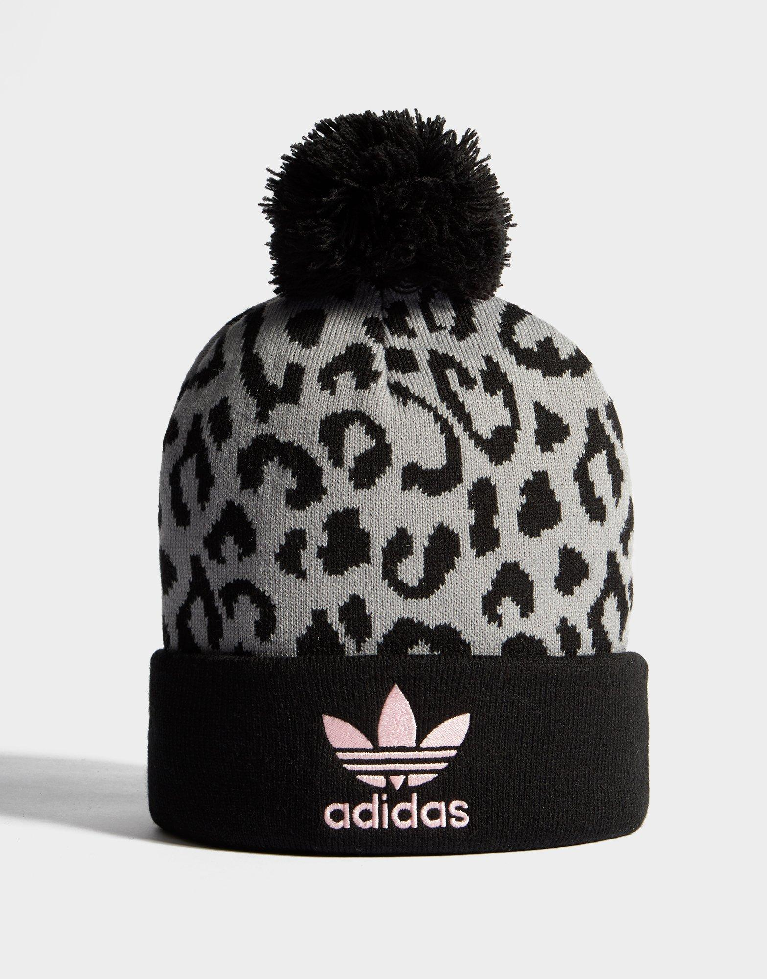 New adidas Originals Pom Leopard Beanie Black