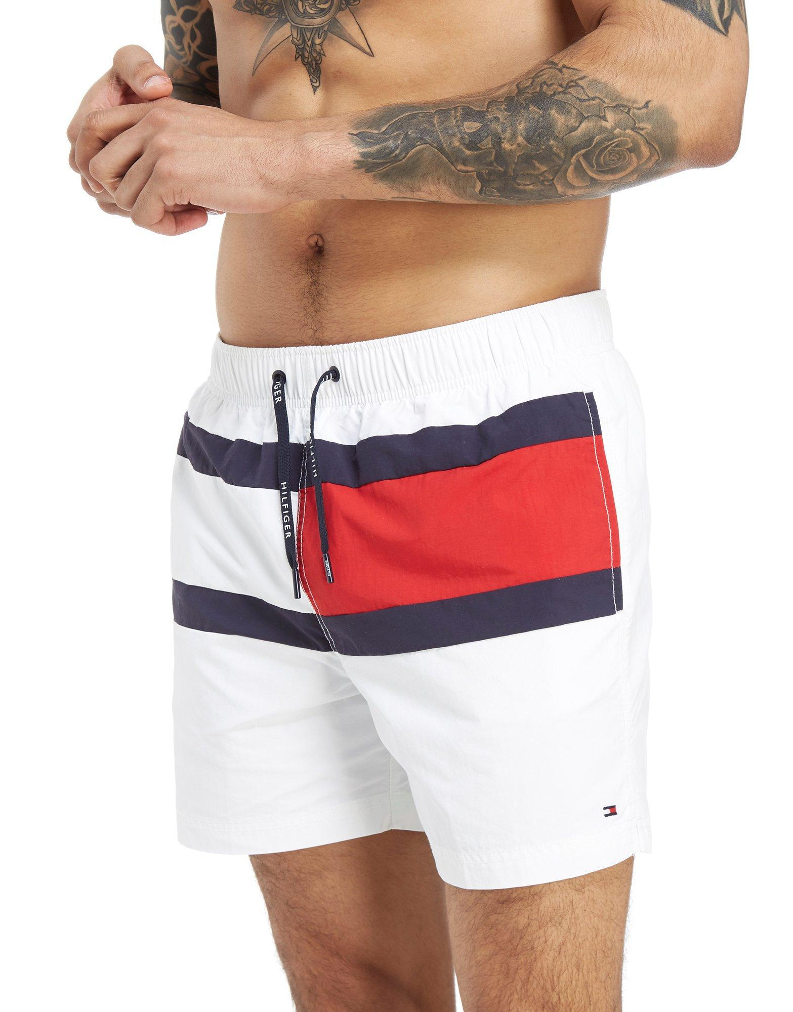 d47f63260b Tommy Hilfiger Colour-blocked Drawstring Swim Shorts in White for ...