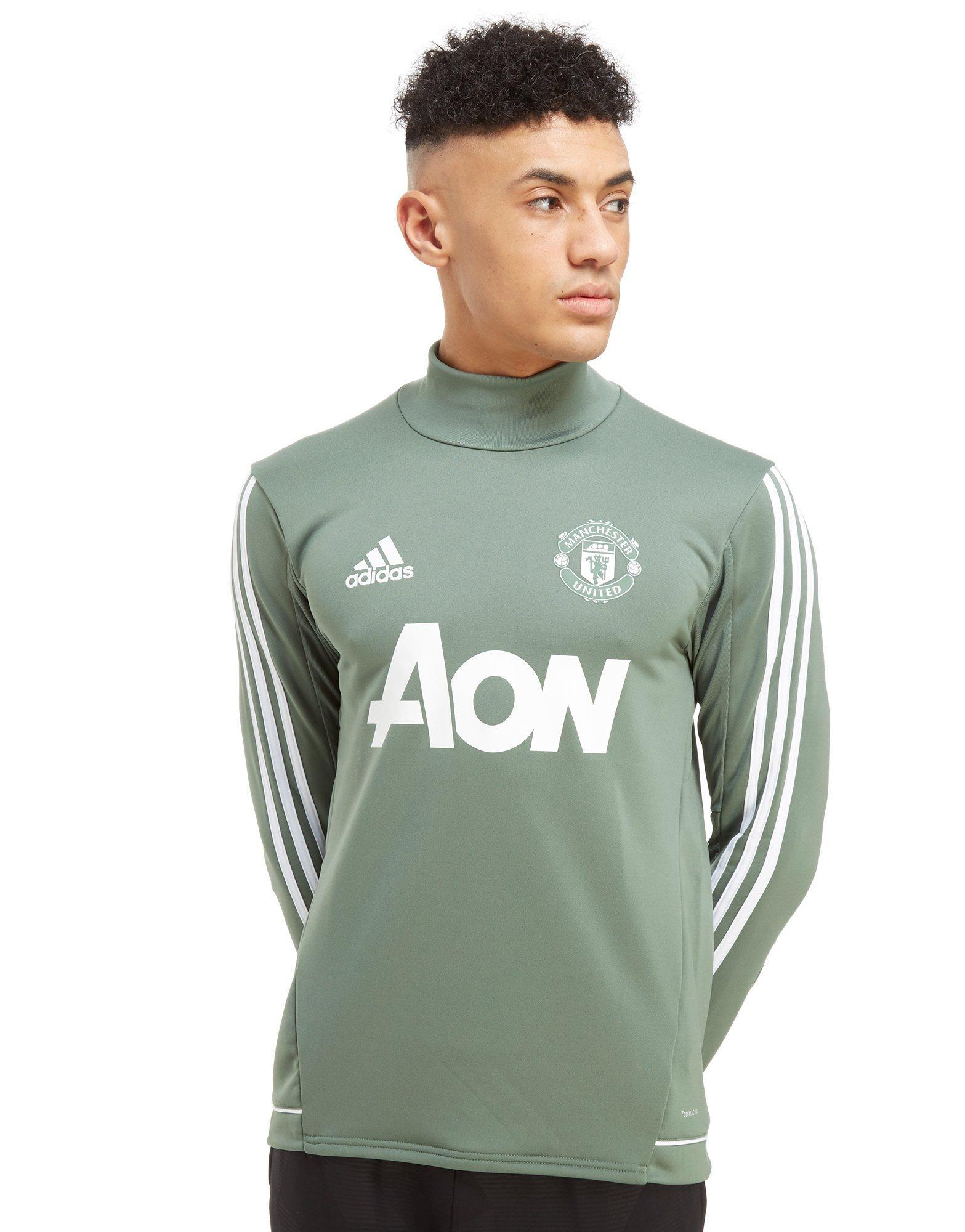 Adidas Synthetic Manchester United Fc Training Top In Green White Green For Men Lyst