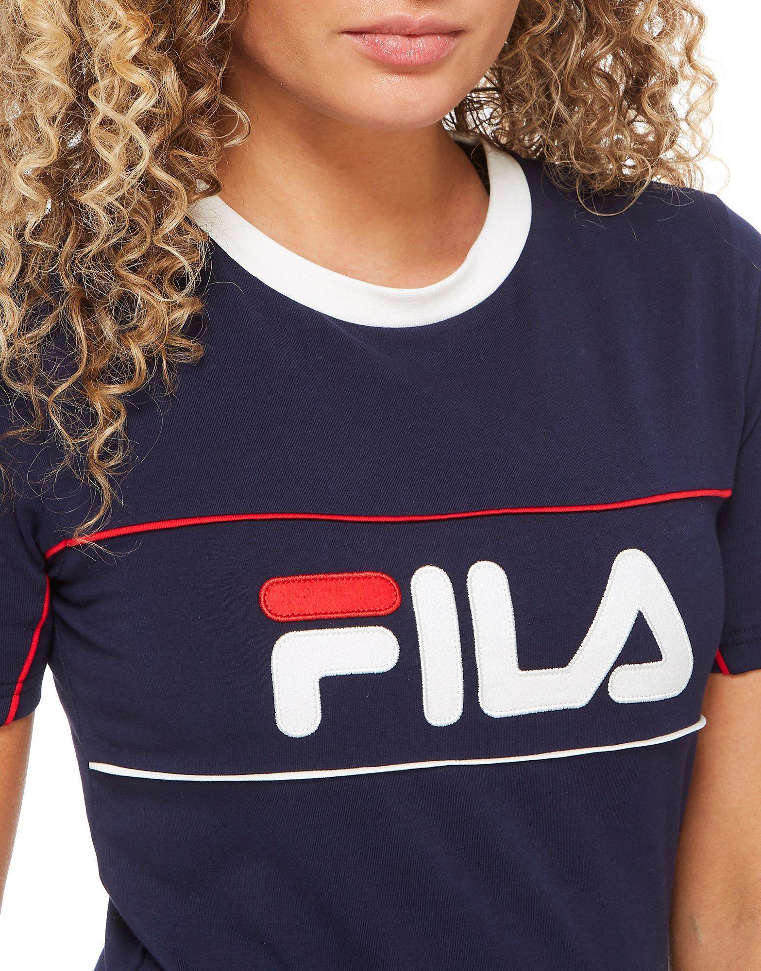 fila logo crop t shirt in blue lyst. Black Bedroom Furniture Sets. Home Design Ideas