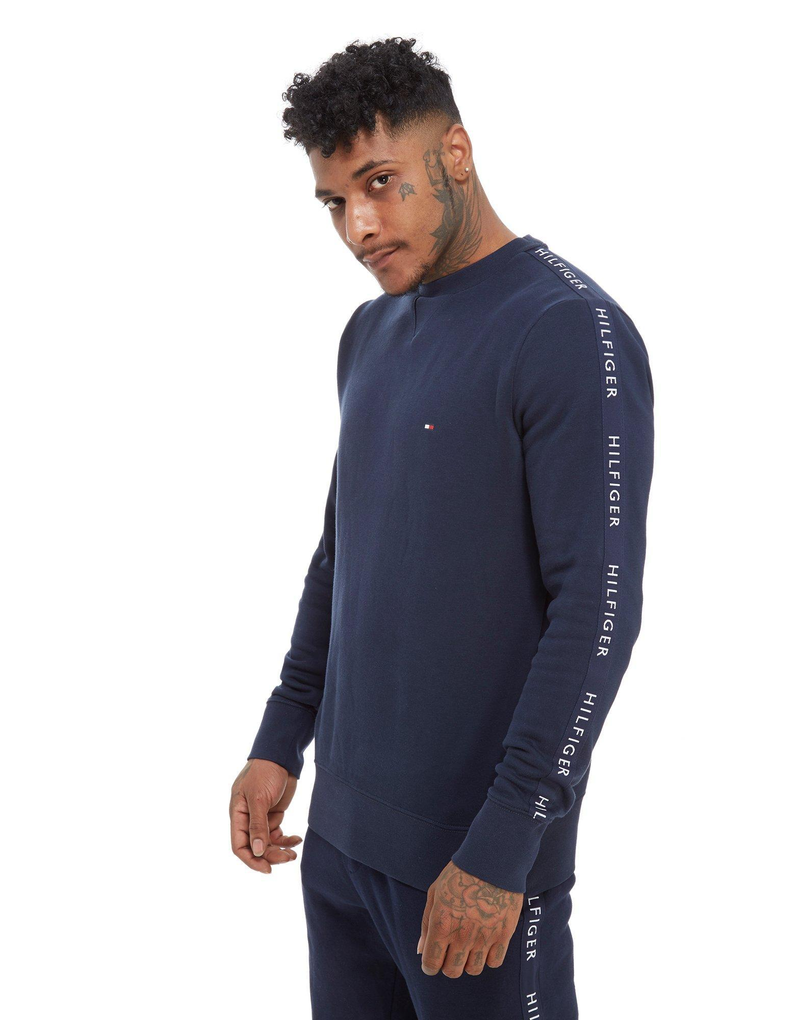 98a94bec6 Tommy Hilfiger Side Tape Crew Long Sleeve Sweatshirt in Blue for Men ...