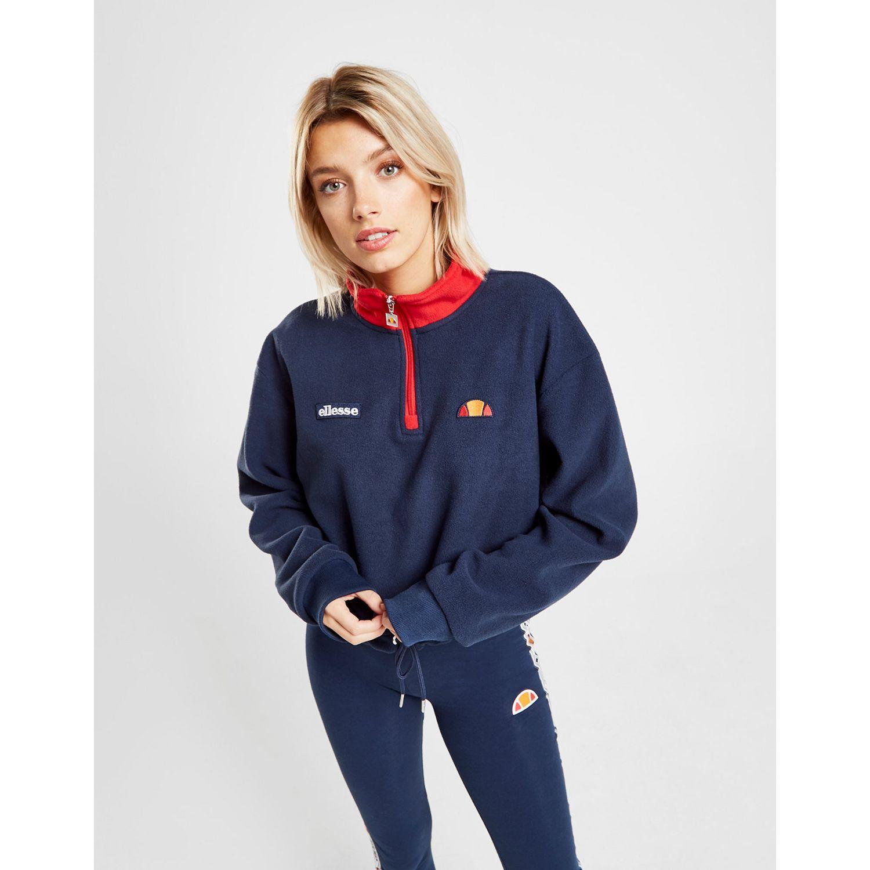 03e5c5671b Ellesse Blue Polar Fleece Crop 1/4 Zip Sweatshirt