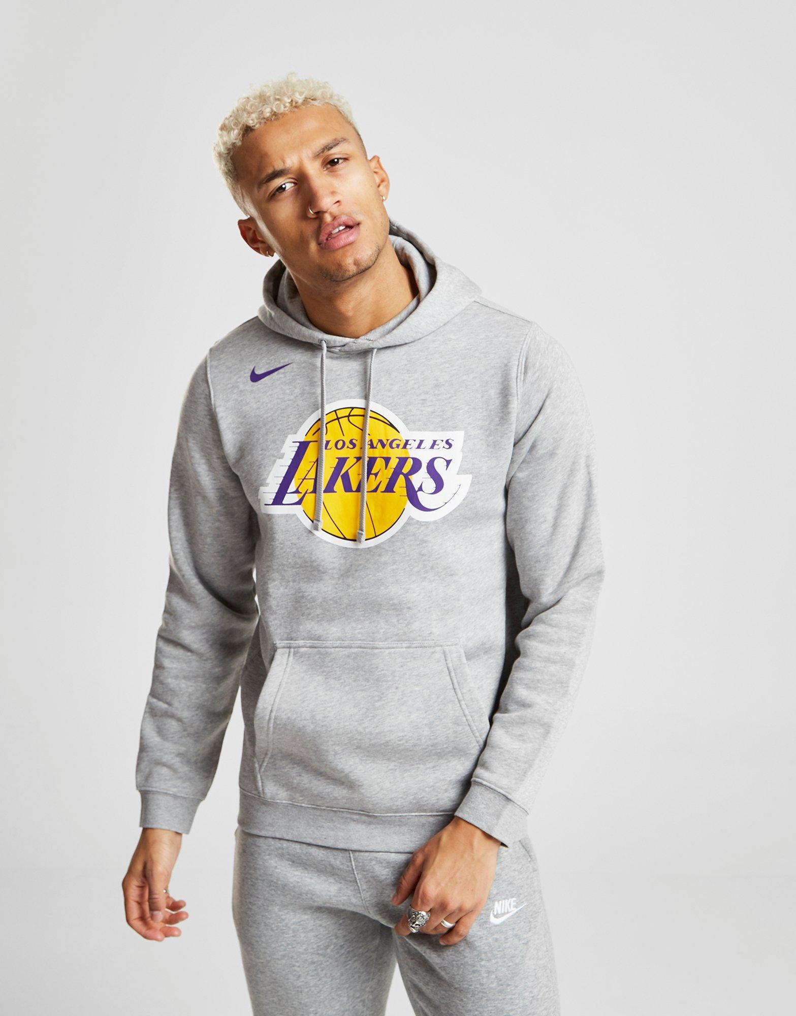 best authentic 26a3e c52f8 Nike Gray Nba Los Angeles Lakers City Overhead Hoodie for men